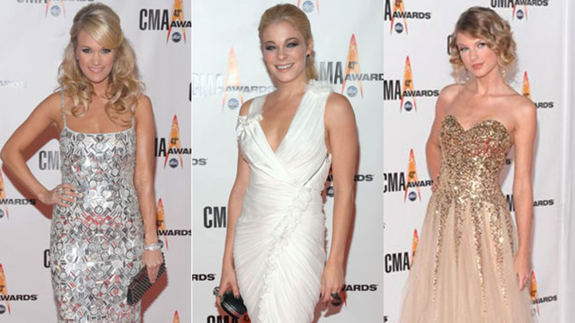 Carrie Underwood, LeAnn Rimes and Taylor Swift had some of the top looks of the night.