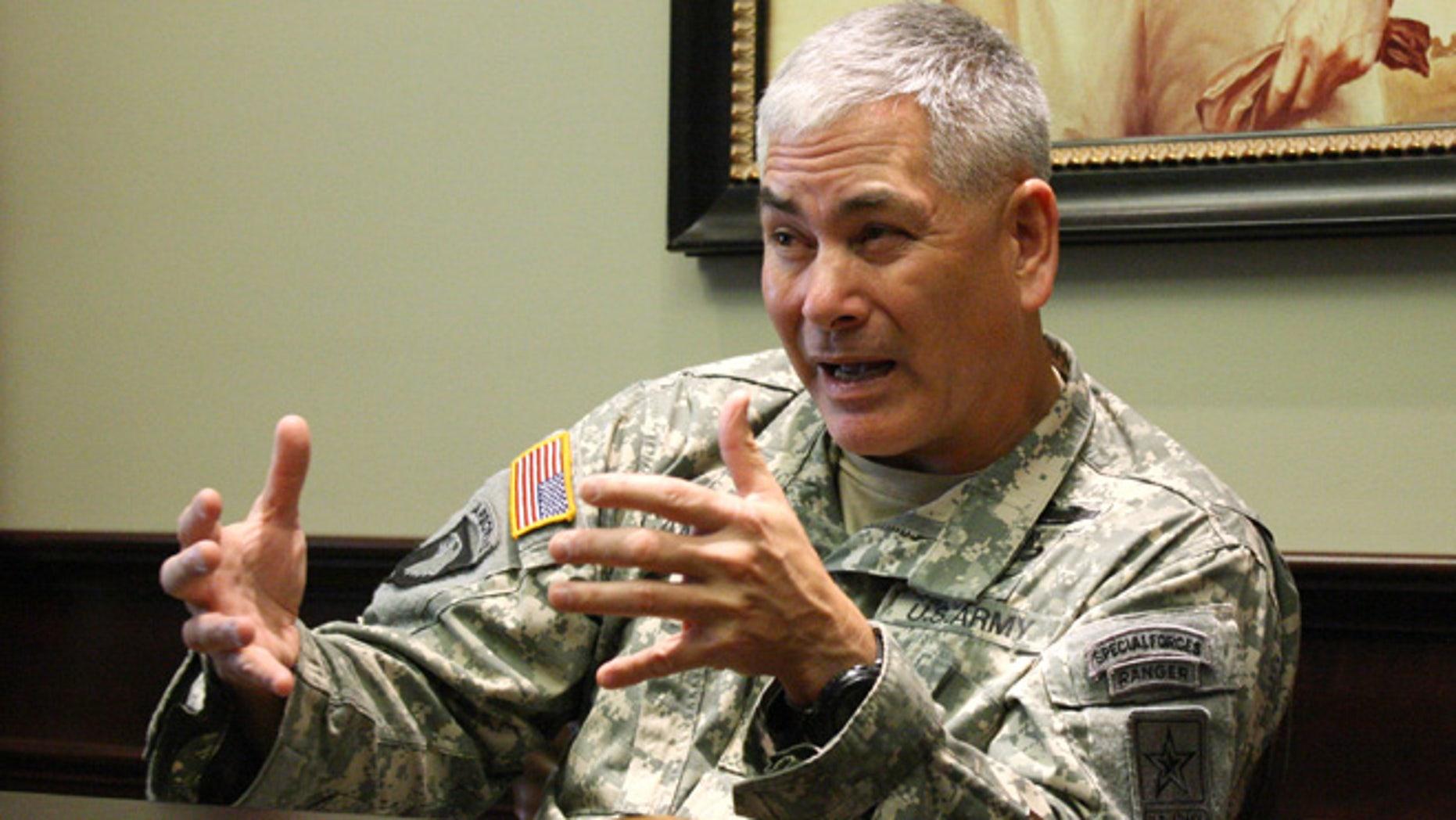 March 18, 2013: File photo, Gen. John Campbell speaks at Fort Leavenworth, Kansas.