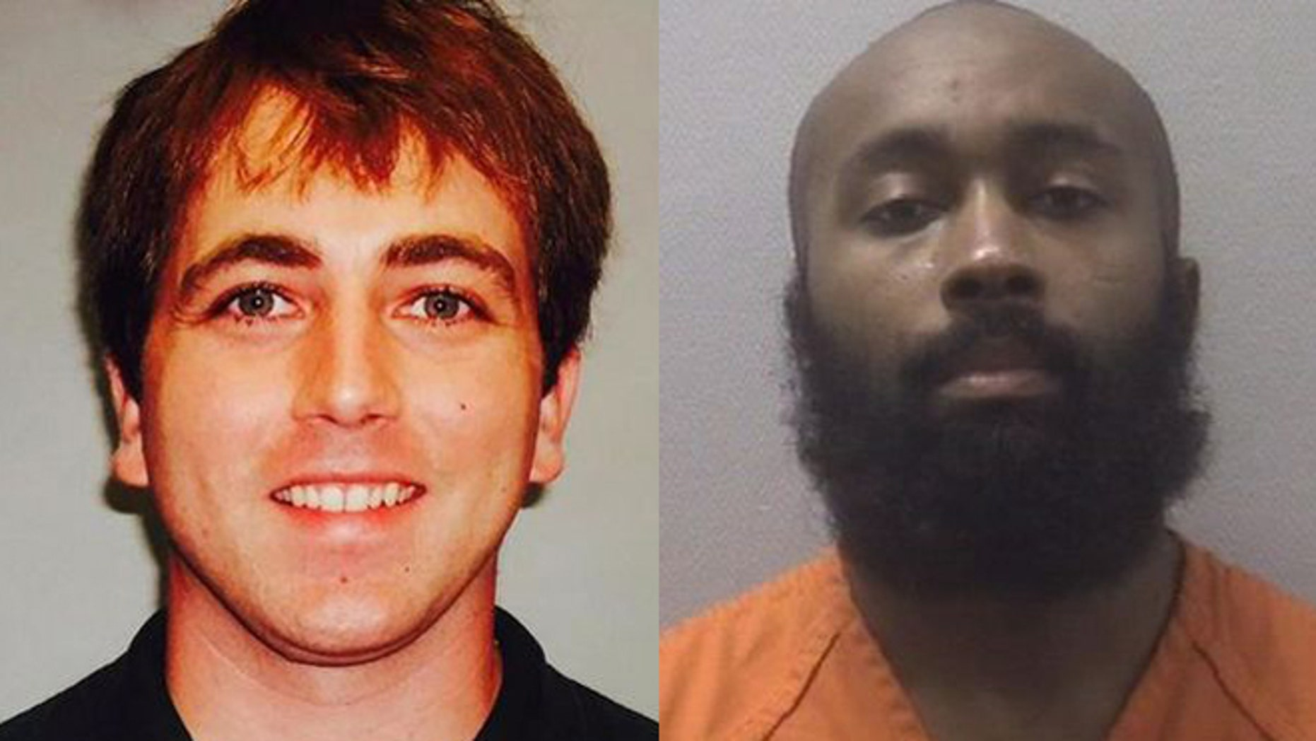 Police Officer Greg Alia, left, was shot and killed Wednesday. Jarvis Hall, right, was arrested in the shooting.