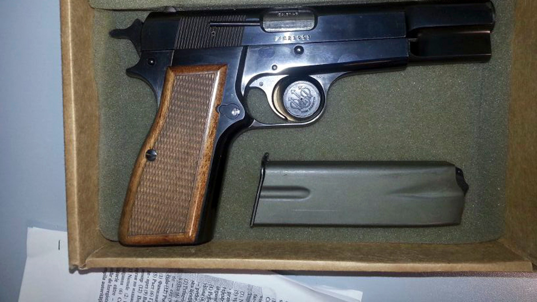 This photo provided by Alitalia shows the Browning HP 9mm handgun used to shoot Pope John Paul II in the abdomen in St. Peter's Square at the Vatican, on May 13, 1981.