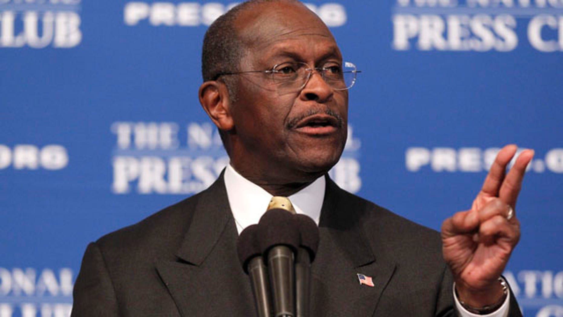 "Republican presidential candidate, Herman Cain answers questions at the National Press Club in Washington, Monday, Oct., 31, 2011. Denying he sexually harassed anyone, Cain said Monday he was falsely accused in the 1990s while he was head of the National Restaurant Association, and he branded revelation of the allegations a ""witch hunt."". (AP Photo/Pablo Martinez Monsivais)"