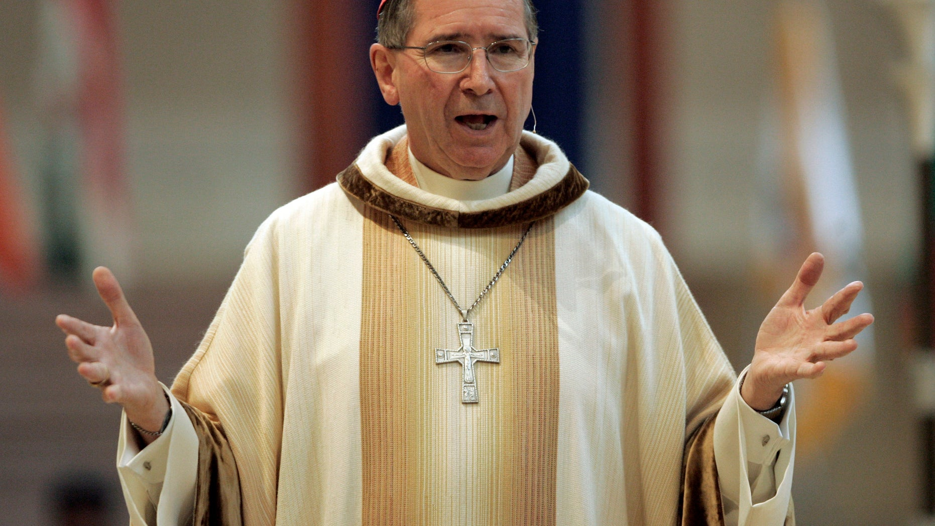 Sept. 22, 2007: In this file photo, Cardinal Roger Mahony speaks during an annual multi-ethnic migration Mass at the Cathedral of Our Lady of the Angels in Los Angeles.