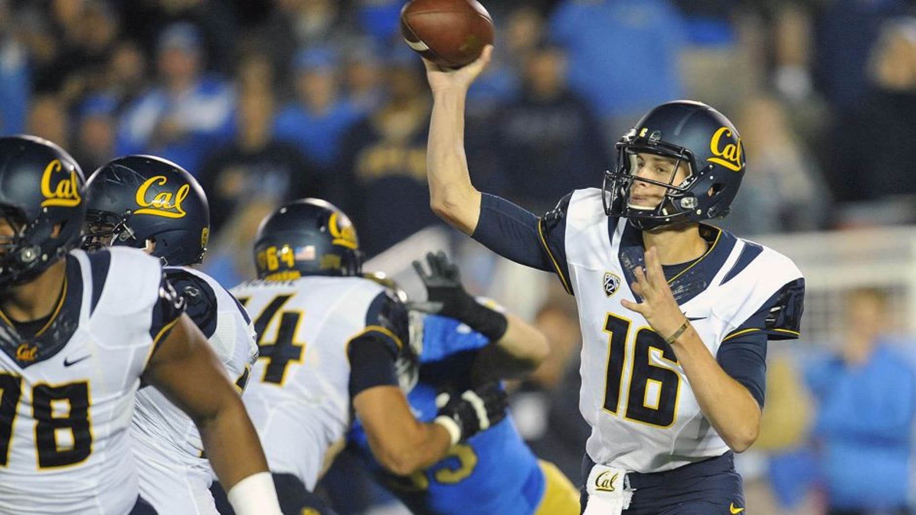 October 12, 2013; Pasadena, CA, USA; California Golden Bears quarterback Jared Goff (16) throws a pass against the UCLA Bruins during the first half at the Rose Bowl. Mandatory Credit: Gary A. Vasquez-USA TODAY Sports