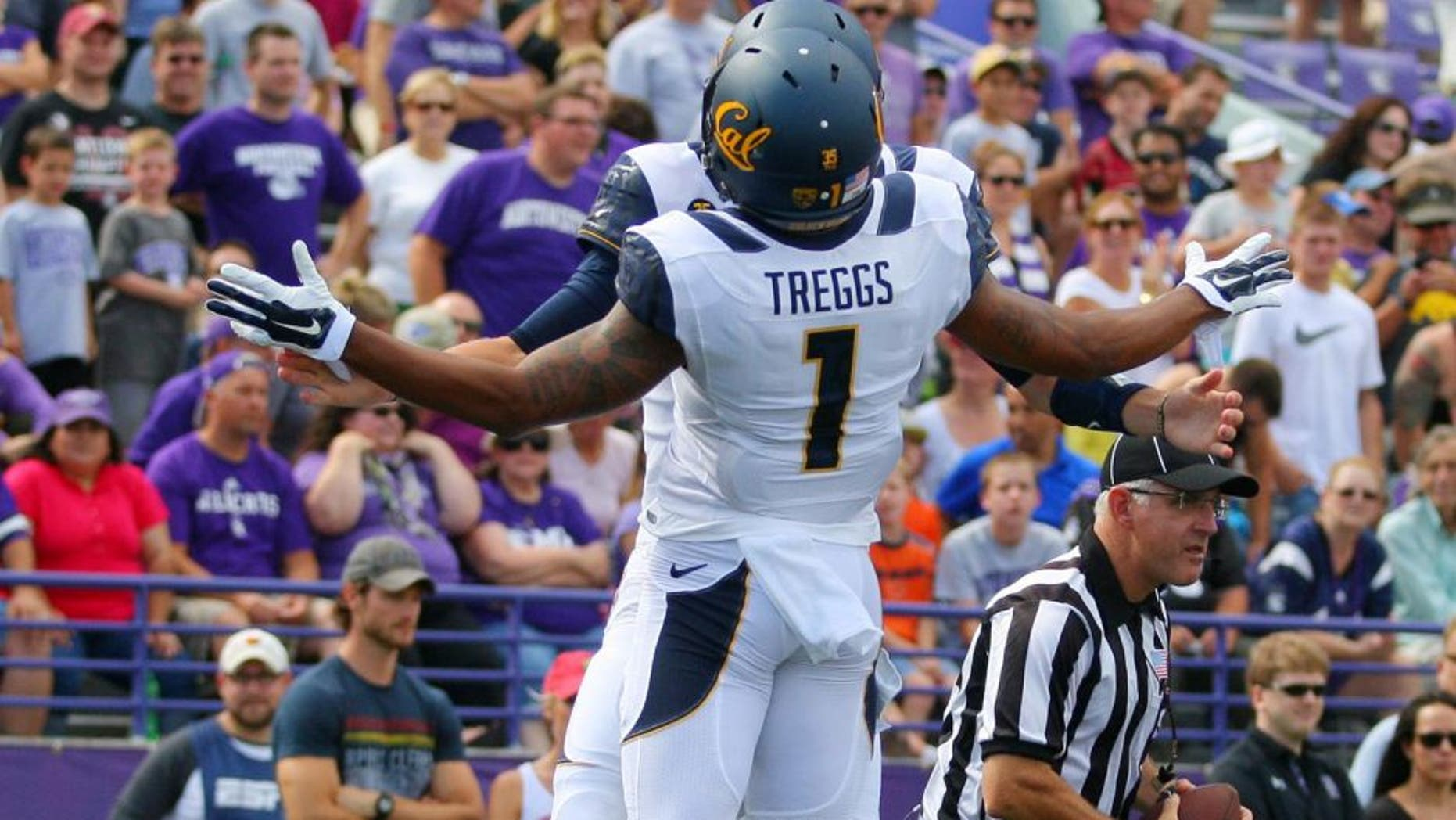 Aug 30, 2014; Evanston, IL, USA; California Golden Bears wide receiver Bryce Treggs (1) celebrates his touchdown with wide receiver Darius Powe (10) during the first half against the Northwestern Wildcats at Ryan Field. Mandatory Credit: Dennis Wierzbicki-USA TODAY Sports