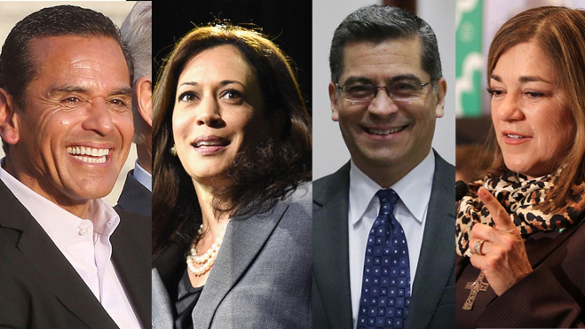 (Left to right) Former Los Angeles Mayor Antonio Villaraigosa, California Attorney General Kamala Harris, Rep. Xavier Becerra, and Rep. Loretta Sanchez.