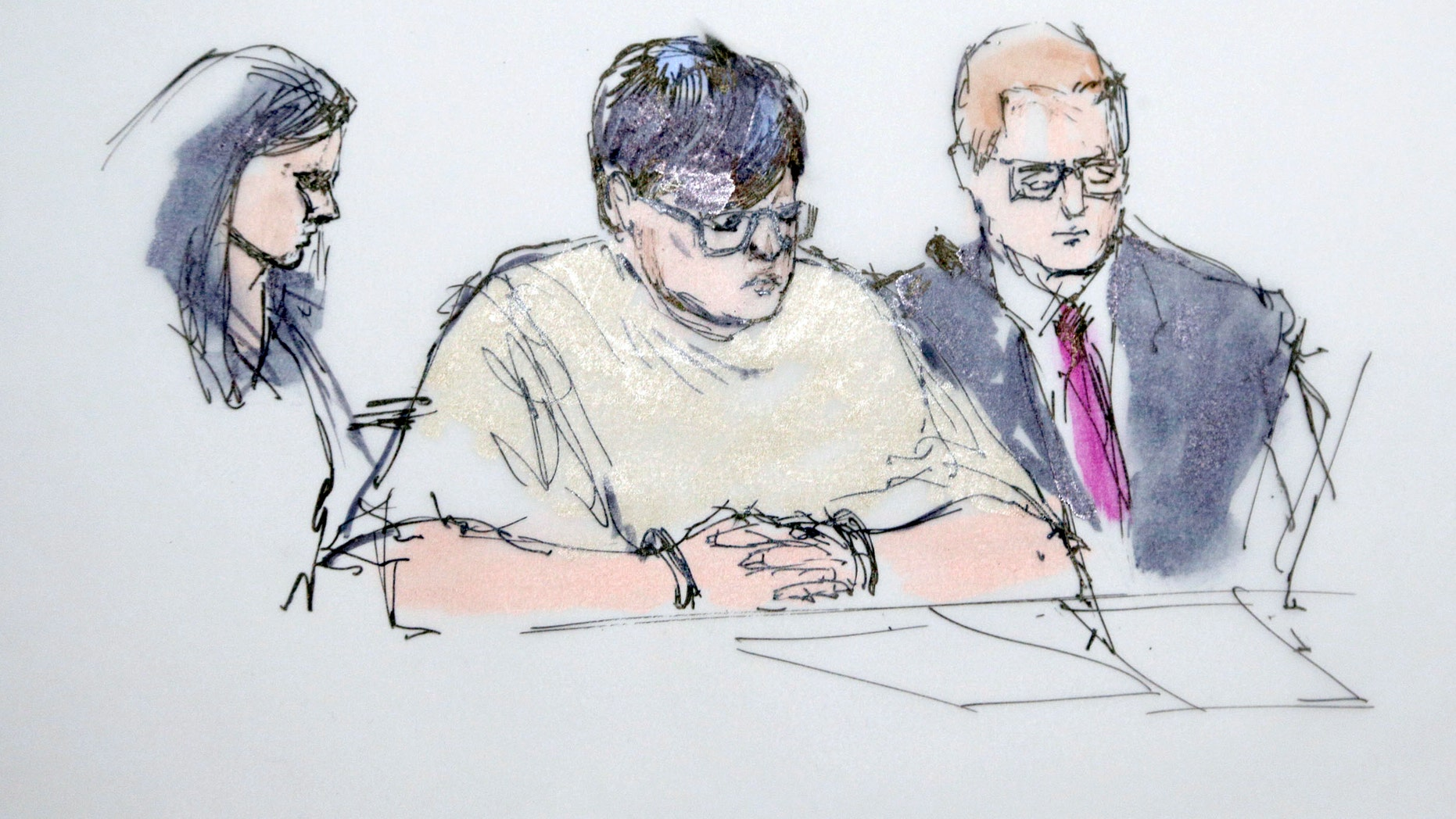 In this artist's sketch, Enrique Marquez, center, appears in federal court in Riverside, Calif., Thursday, Dec. 17, 2015. Marquez, 24, was charged Thursday with conspiring to provide material support to terrorists for plotting with gunman Syed Rizwan Farook to launch attacks in 2011 and 2012 at a community college and congested freeway at rush hour that they never carried out. (AP Photo/Bill Robles)
