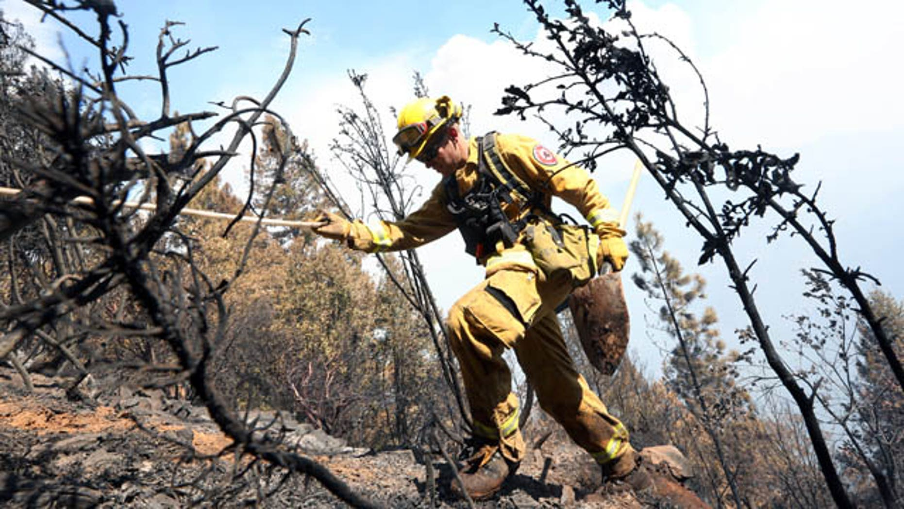 September 15, 2014: Firefighter Jesse Hadorowski climbs up steep terrain while battling a fire near Pollack Pines, Calif. The fire, which started Sunday, has consumed more than 3,000 acres and forced the evacuation of dozens of homes.(AP Photo/Rich Pedroncelli)