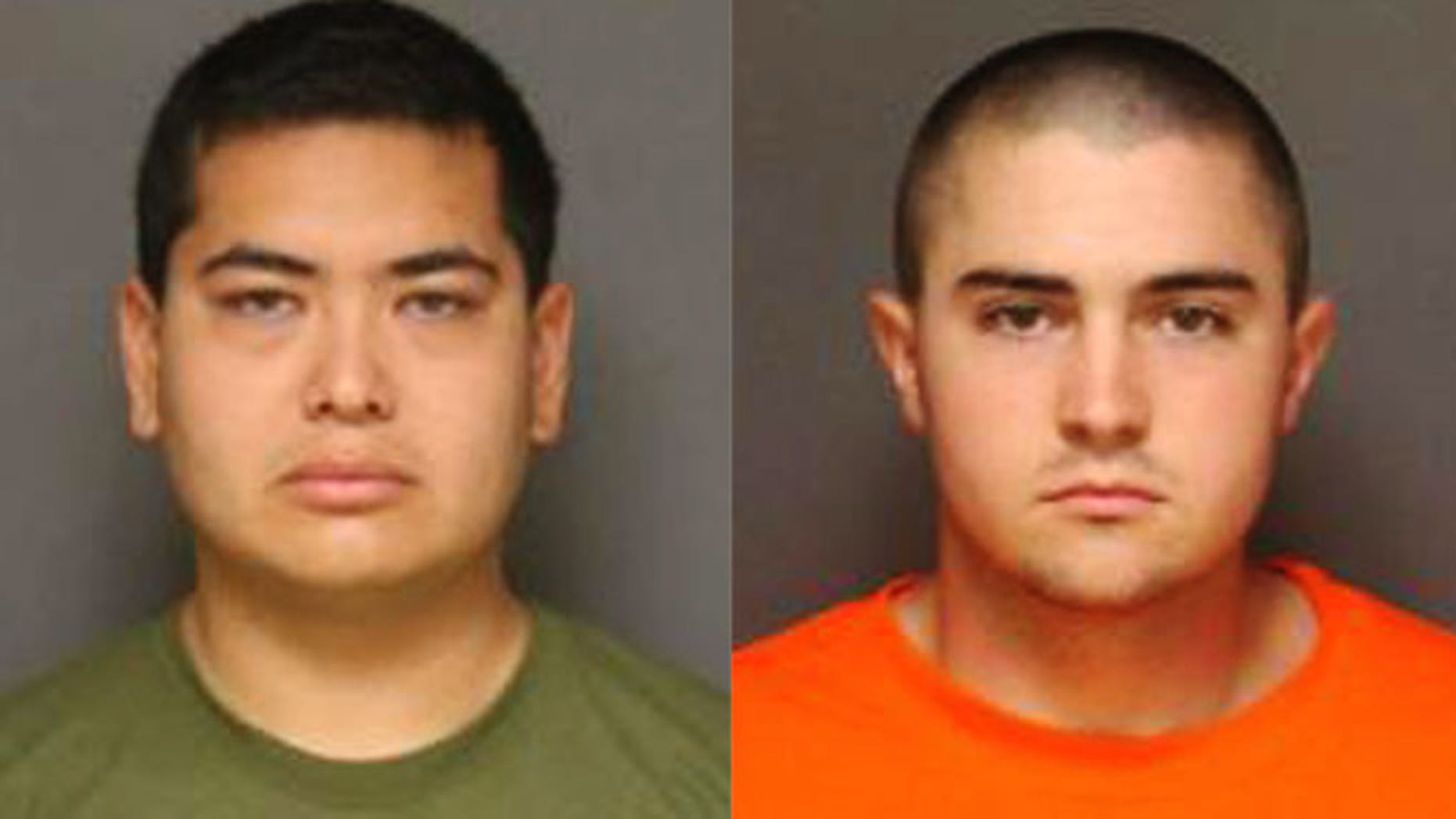 These photos released by the Fullerton, Calif., Police Department show Frank Felix, 25 (left) and Josh Acosta, 21, (right) who were arrested and jailed in connection with the murders of two men and a woman at a Fullerton home. (Fullerton Police Department via AP)