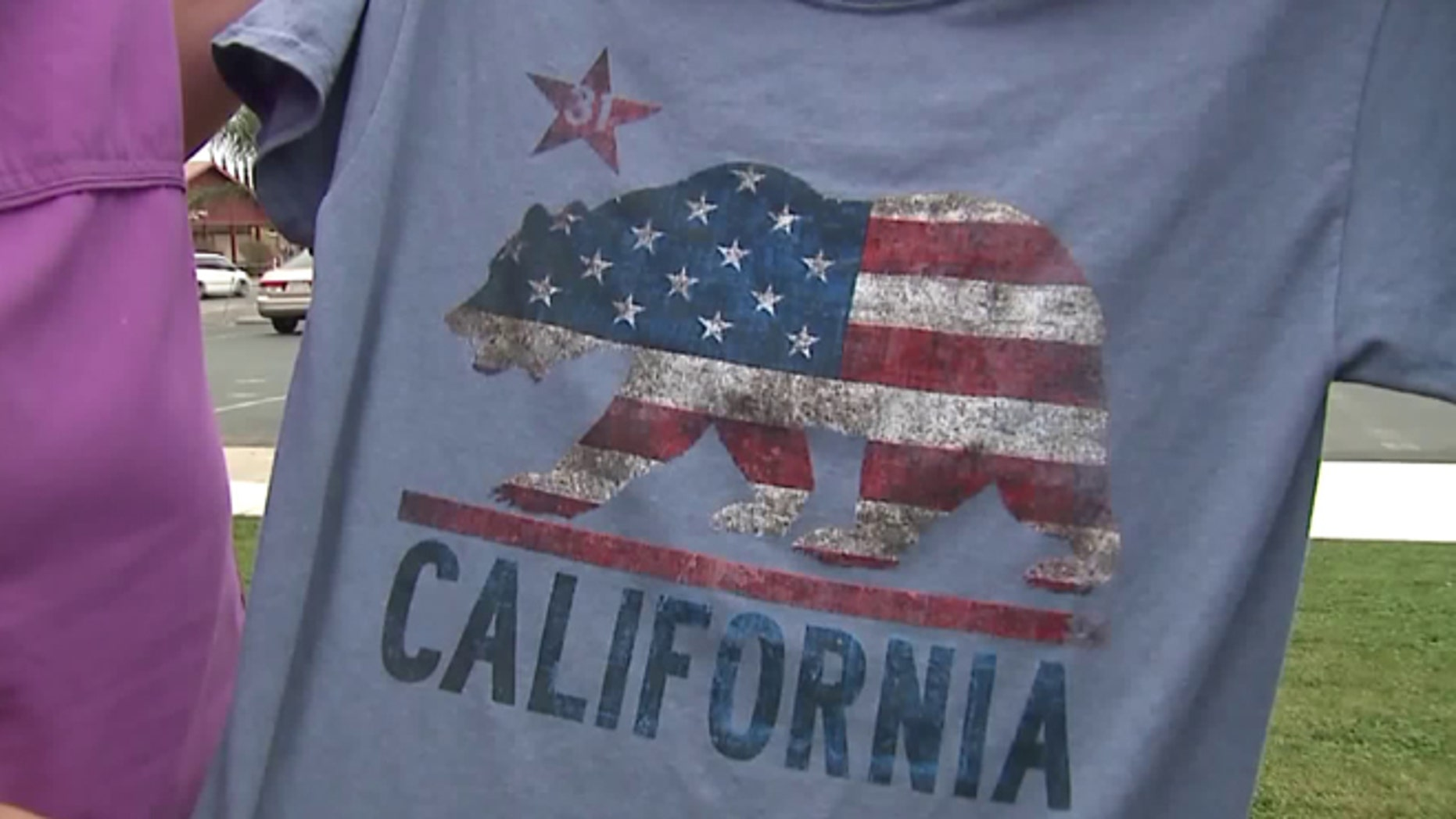 California student Dustin Cole, 12, received a dress code violation last week for wearing this shirt at his public school in Olivehurst.