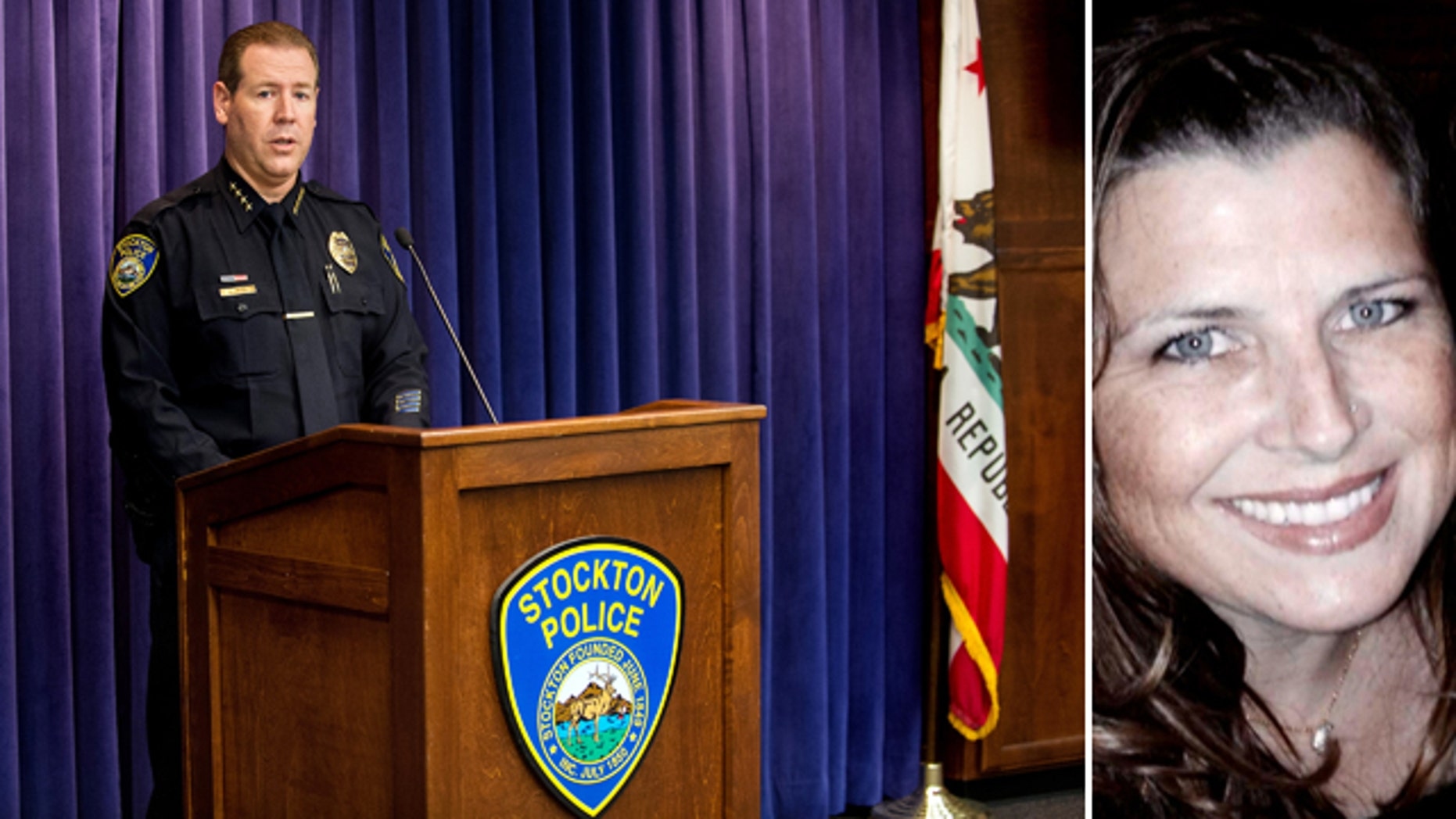 August 11, 2014: Stockton, Calif. Police Chief Eric Jones holds a press conference to release more information about the recent bank robbery and police shooting that ended with the death of two suspects and the hostage Misty Holt-Singh, pictured right. Police say Holt-Singh, 41 was killed by police, not the suspects. (AP Photo/The Record, Craig Sanders)