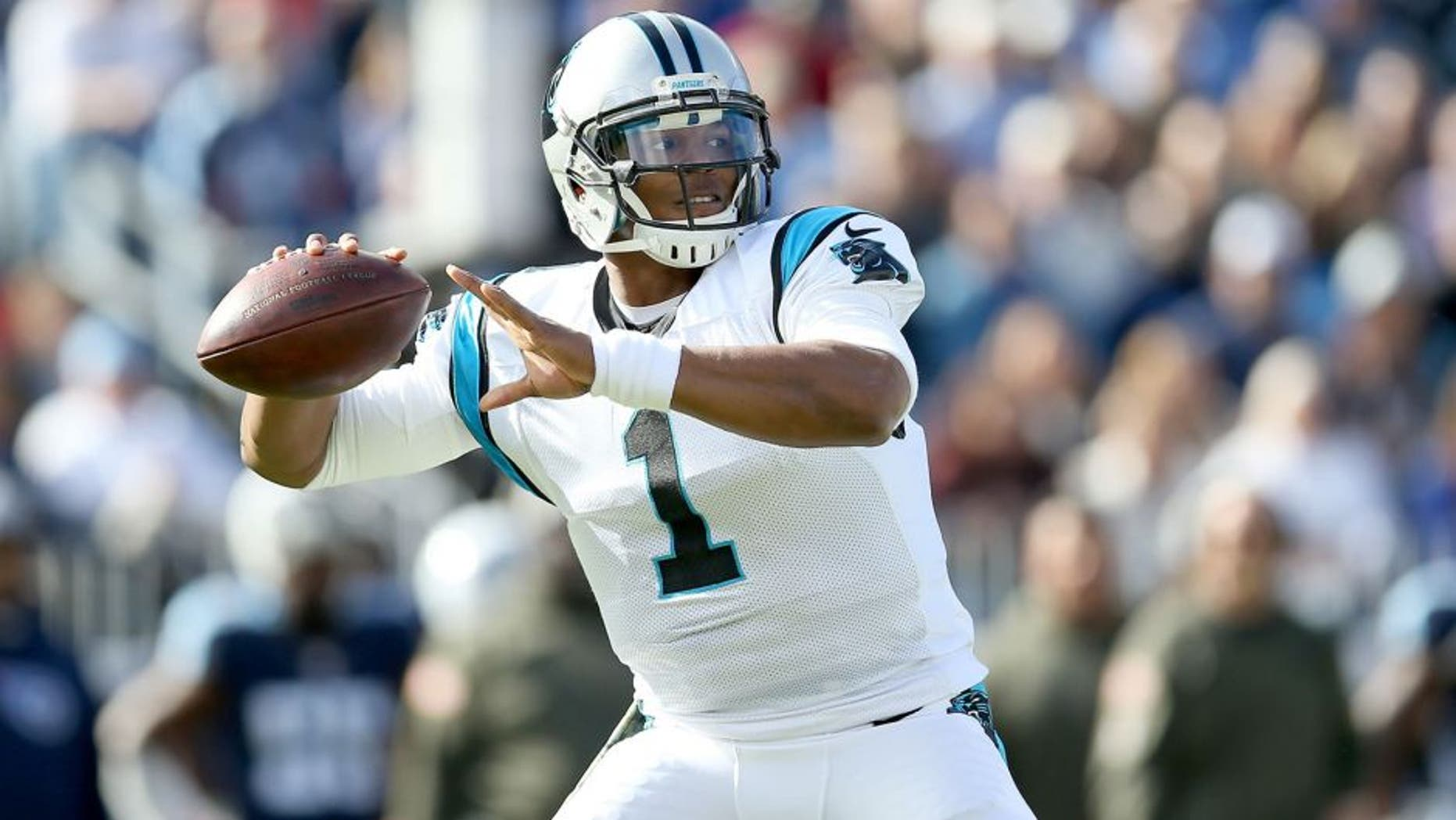 NASHVILLE, TN - NOVEMBER 15: Cam Newton #1 of the Carolina Panthers winds up for a pass during the first quarter against the Tennessee Titans at LP Field on November 15, 2015 in Nashville, Tennessee. (Photo by Andy Lyons/Getty Images)