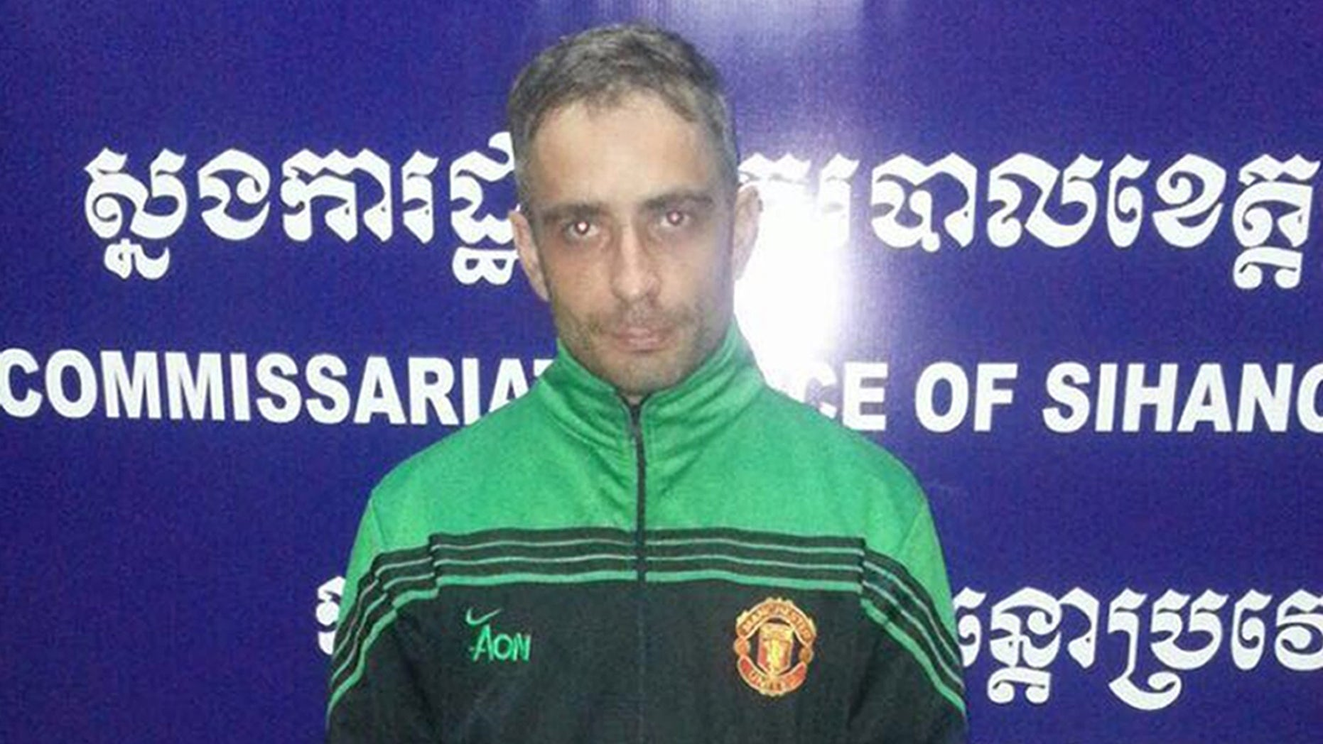 Artur Segarra Princep,  suspected of murder, at the Sihanoukville police station, southwest of Phnom Penh, Cambodia.