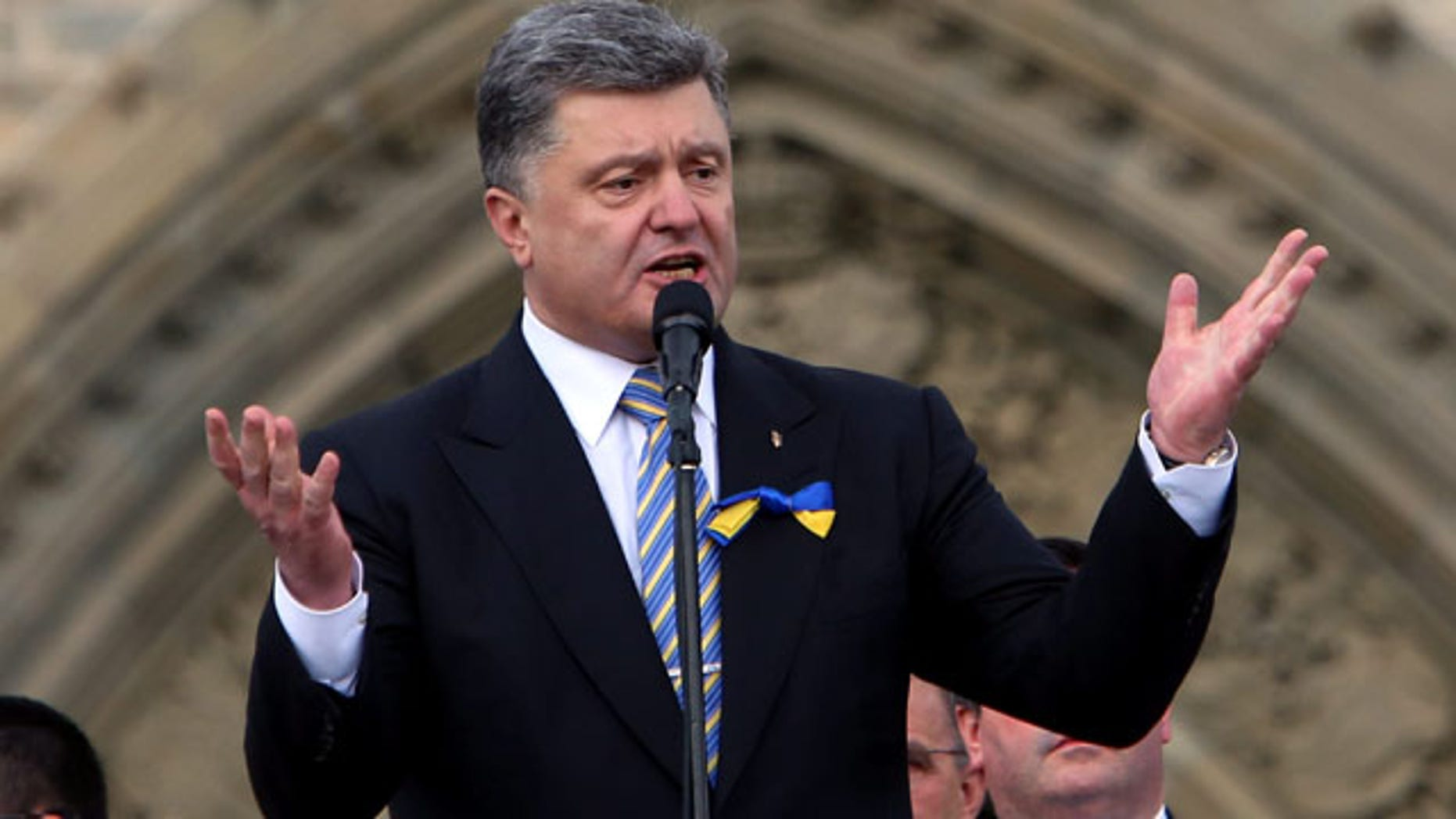 September 17, 2014: Ukrainian President Petro Poroshenko addresses the Canadian-Ukranian community on Parliament Hill, in Ottawa. (AP Photo/The Canadian Press,Fred Chartrand)