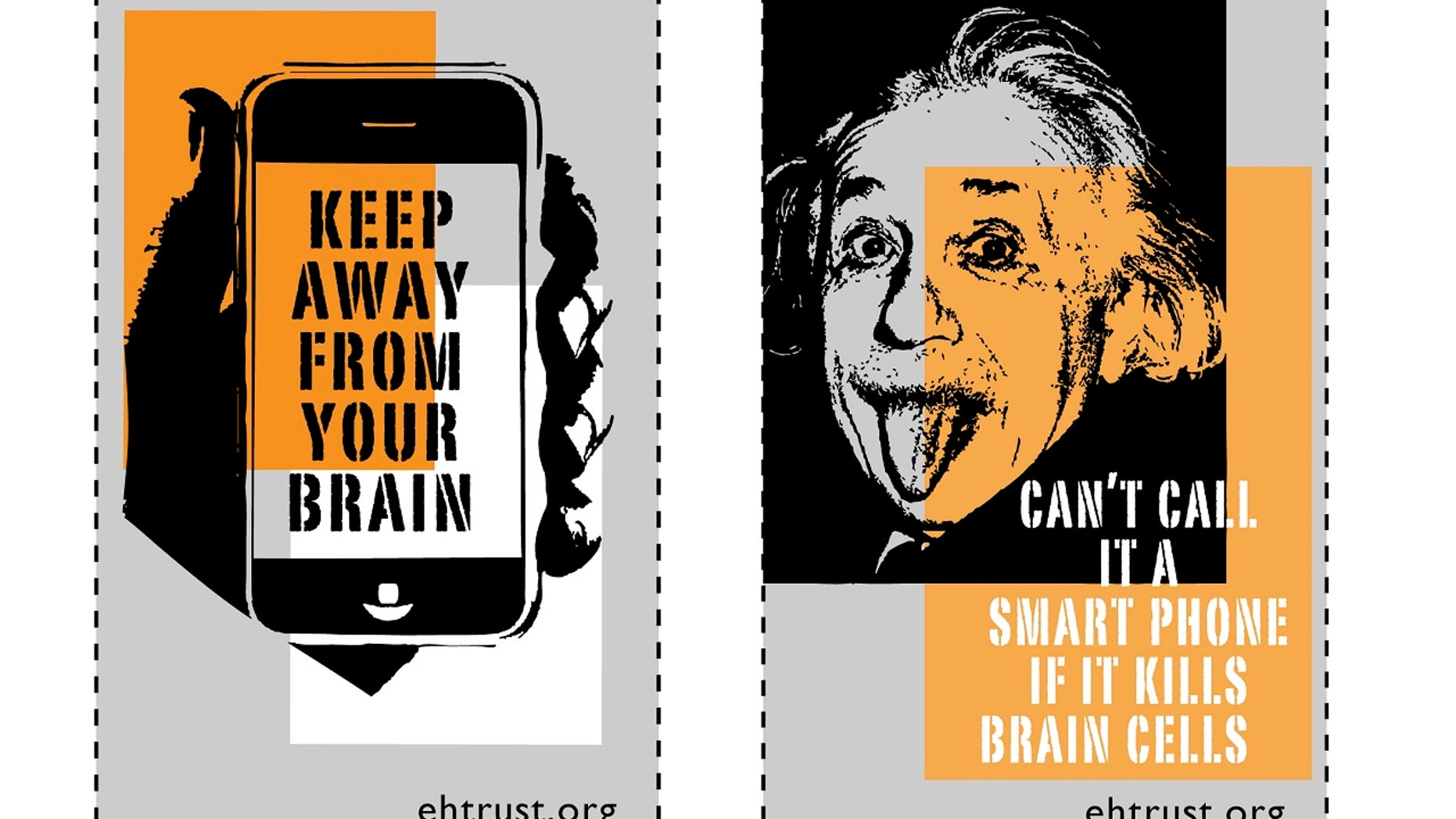 Cell phones should come with warning labels such as these ones, argues an environmental health group.