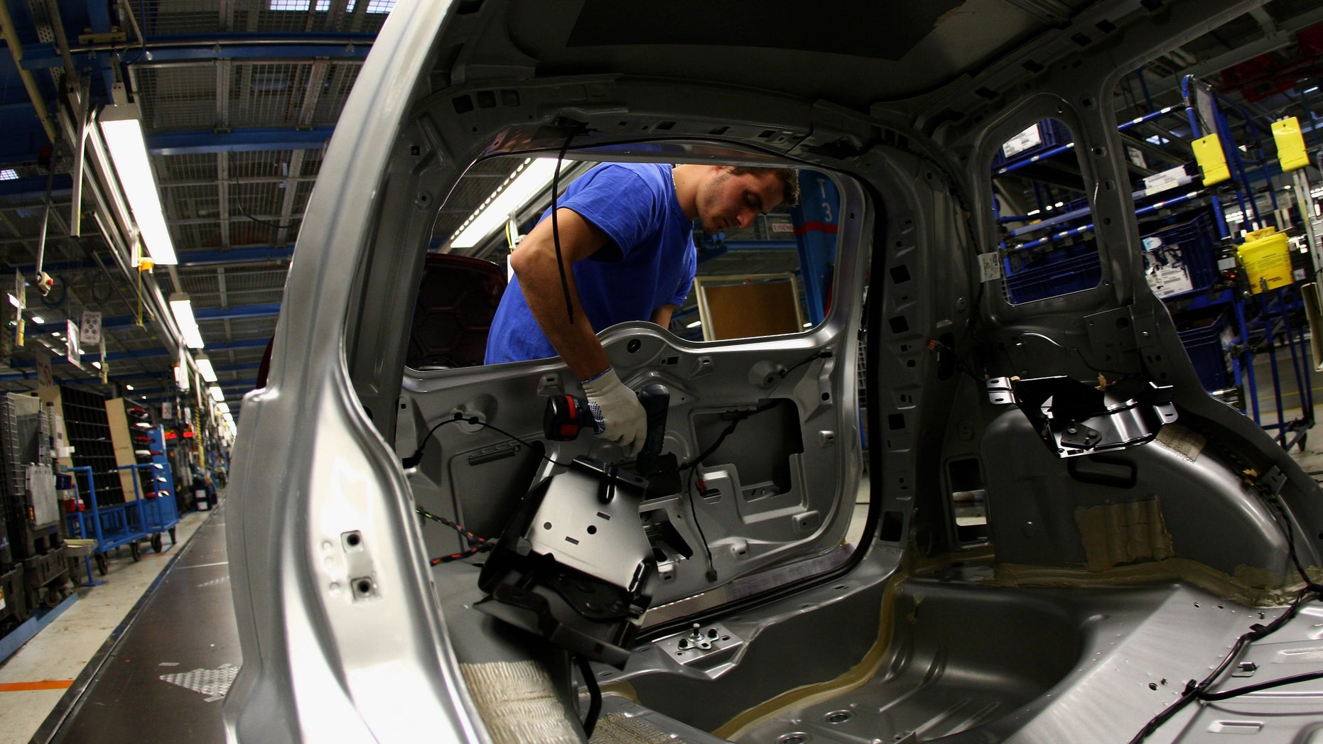 COLOGNE, GERMANY - DECEMBER 04:  General picture of a production of the new Ford Fiesta is seen at the Ford Fiesta manufacture in Cologne Niehl on December 4, 2008 in Cologne, Germany. Cologne Ford manufacture has started on August 14 the world wide production of the new generation of Ford Fiesta.  (Photo by Vladimir Rys/Getty Images)
