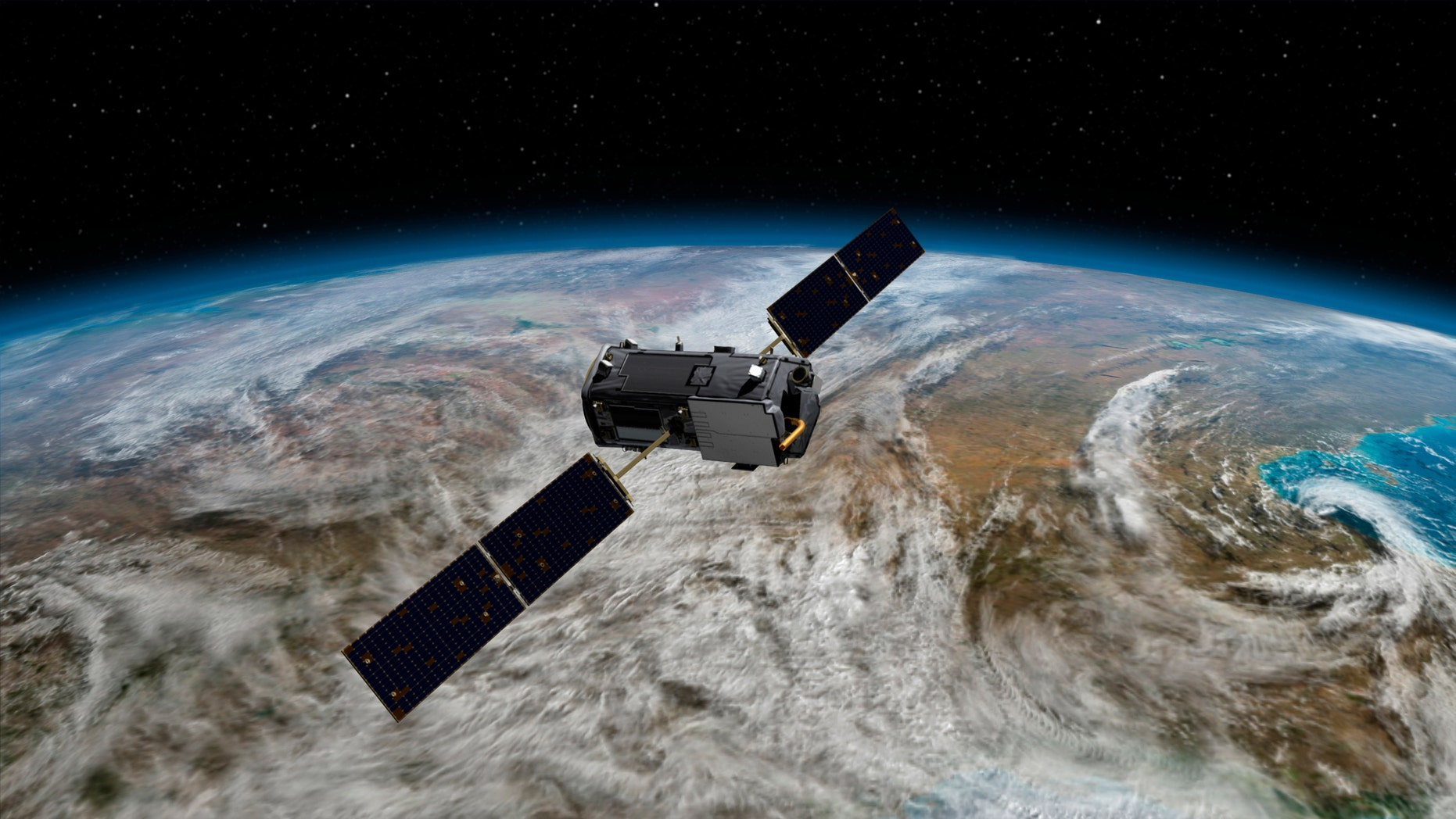 This Jan. 22, 2014, artist concept rendering provided by NASA shows their Orbiting Carbon Observatory (OCO)-2.