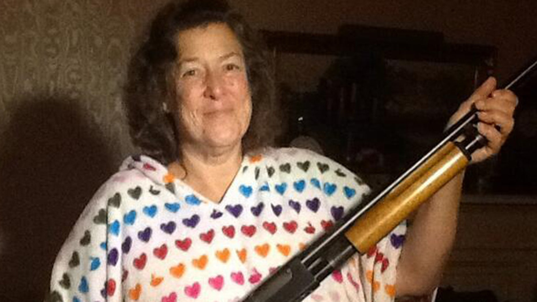 This undated photo shows Carla with the shotgun police say she used to chase off two suspects.