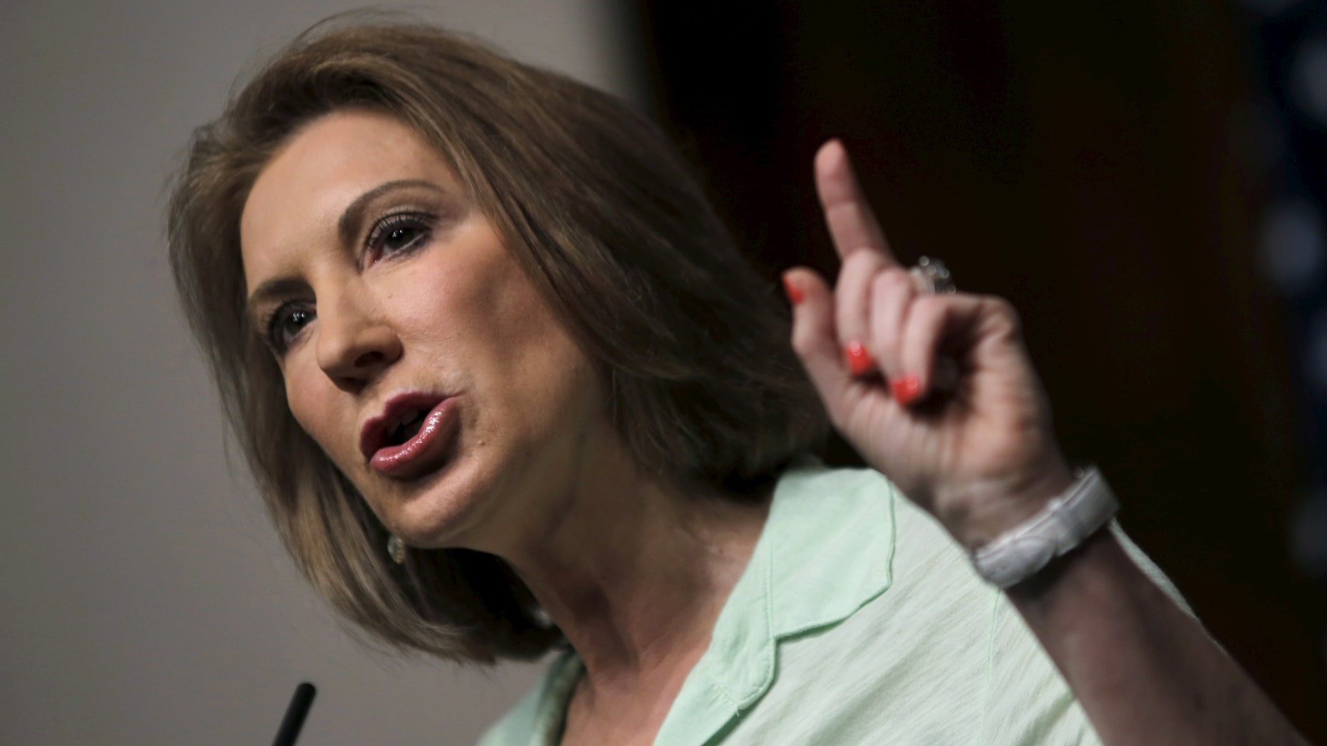 """U.S. Republican presidential candidate Carly Fiorina addresses the """"Road to Majority"""" conference in Washington June 20, 2015."""