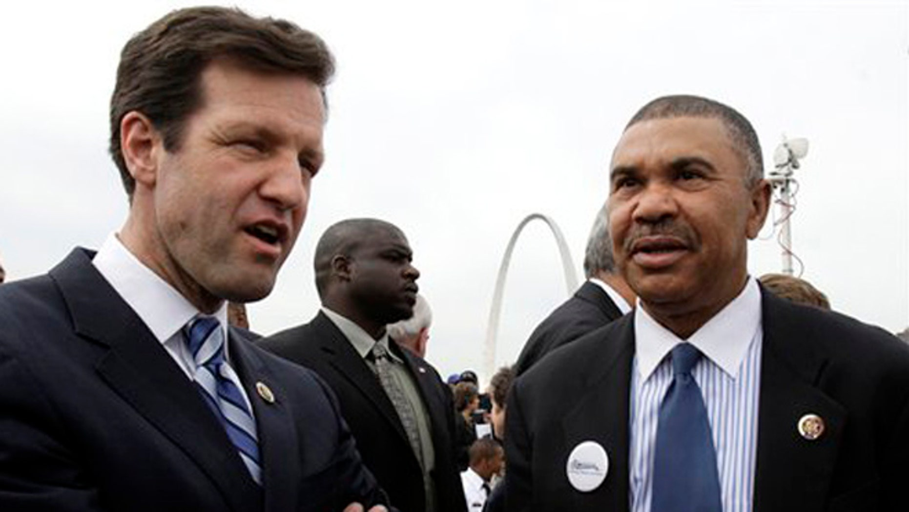 FILE: April 19, 2010:  Rep. Russ Carnahan, D-Mo., left, and Rep. William Lacy Clay, D-Mo., attend a groundbreaking ceremony in St. Louis, Mo.