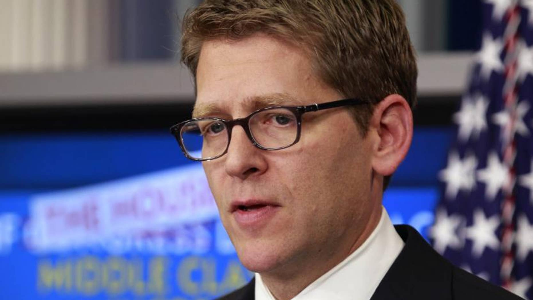 White House Press Secretary Jay Carney speaks during his daily briefing in the White House's Brady Briefing Room, Wednesday, Dec. 21, 2011, in Washington. (AP Photo/Haraz N. Ghanbari)