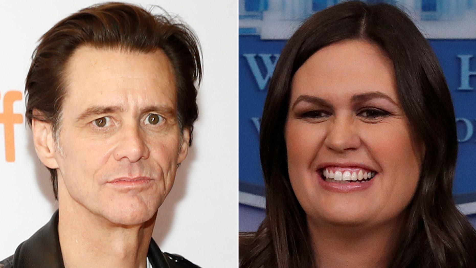 Actor Jim Carrey has painted a portrait of White House Press Secretary Sarah Sanders.