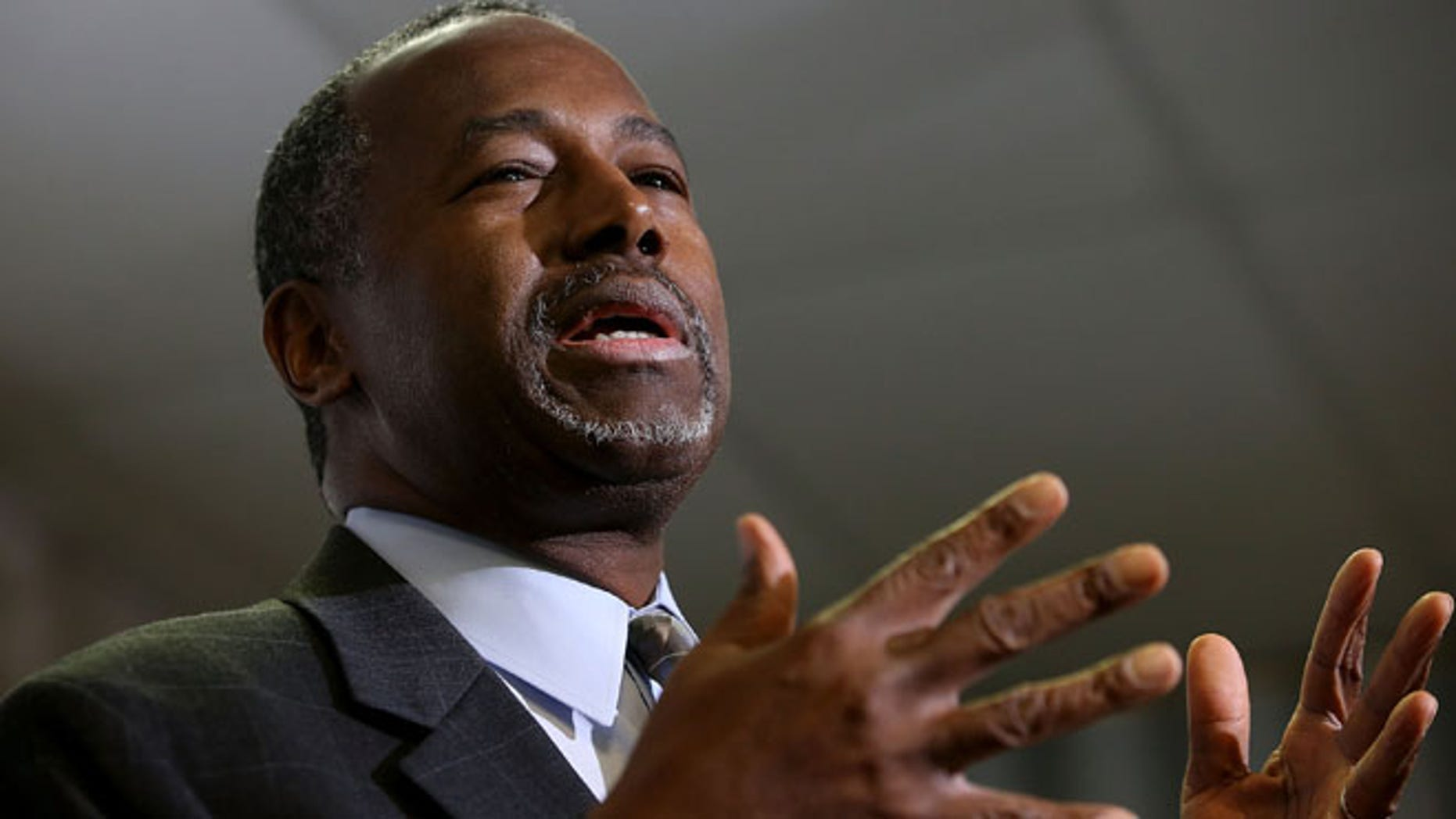 Republican presidential candidate Ben Carson speaks during a news conference before a campaign event at Colorado Christian University on October 29, 2015 in Lakewood, Colorado. (Photo by Justin Sullivan/Getty Images)