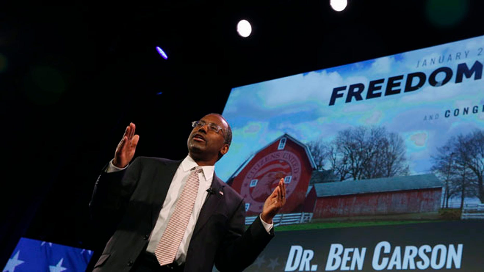 FILE:  January 24, 2015: Dr. Ben Carson speaks at the Freedom Summit in Des Moines, Iowa