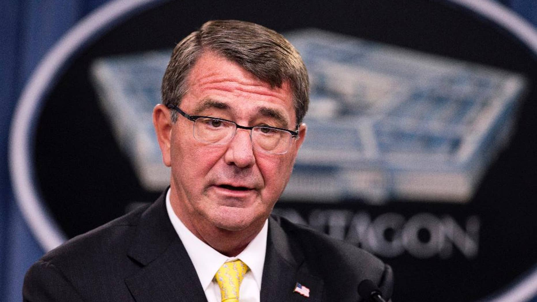 FILE - In this Aug. 20, 2015 file photo, Defense Secretary Ash Carter speaks during a news conference at the Pentagon. Carter used a speech and a wide-ranging exchange with troops on social media sites Tuesday to press his agenda for change in the military, signaling his early support for expanded maternity leave, women serving in combat jobs and greater flexibility pay, promotions and benefits.  (AP Photo/Manuel Balce Ceneta, File)