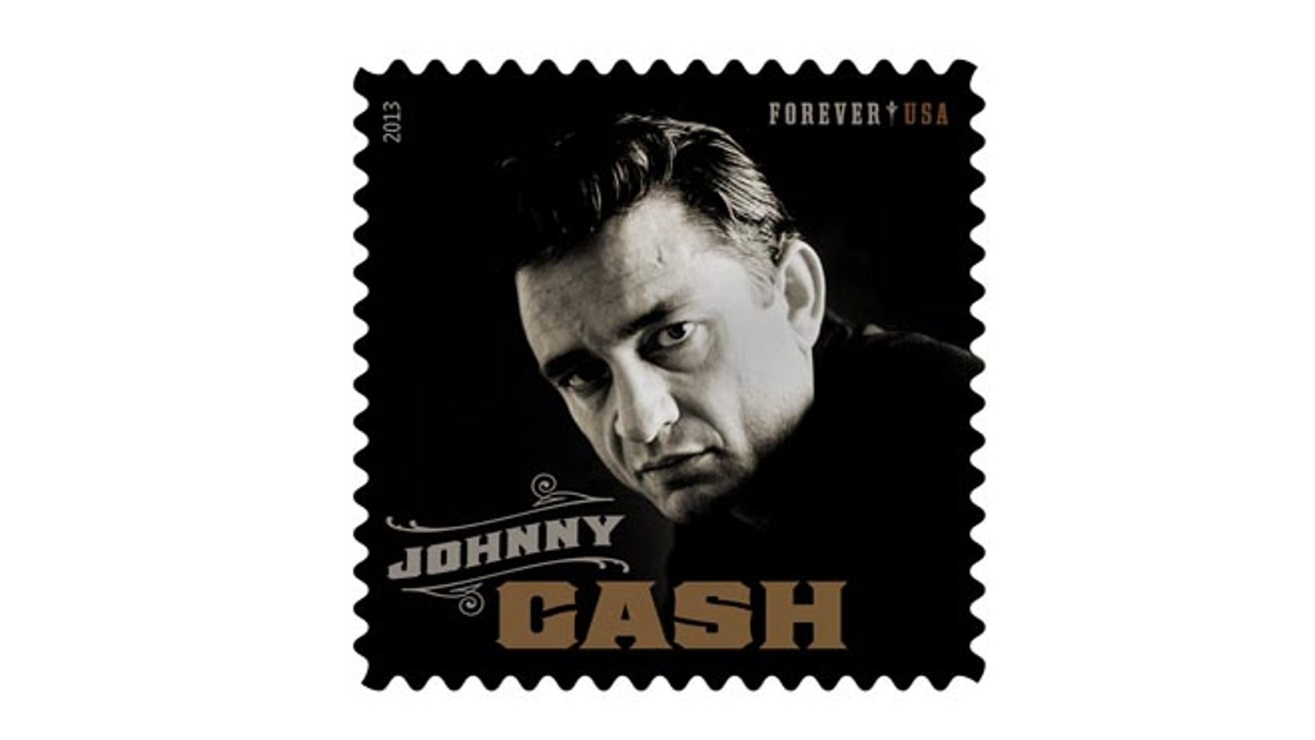This product image released by the Unites States Postal Service shows the Johnny Cash Forever stamp. The stamp, honoring the late country music singer, will be available on Wednesday, June 5.