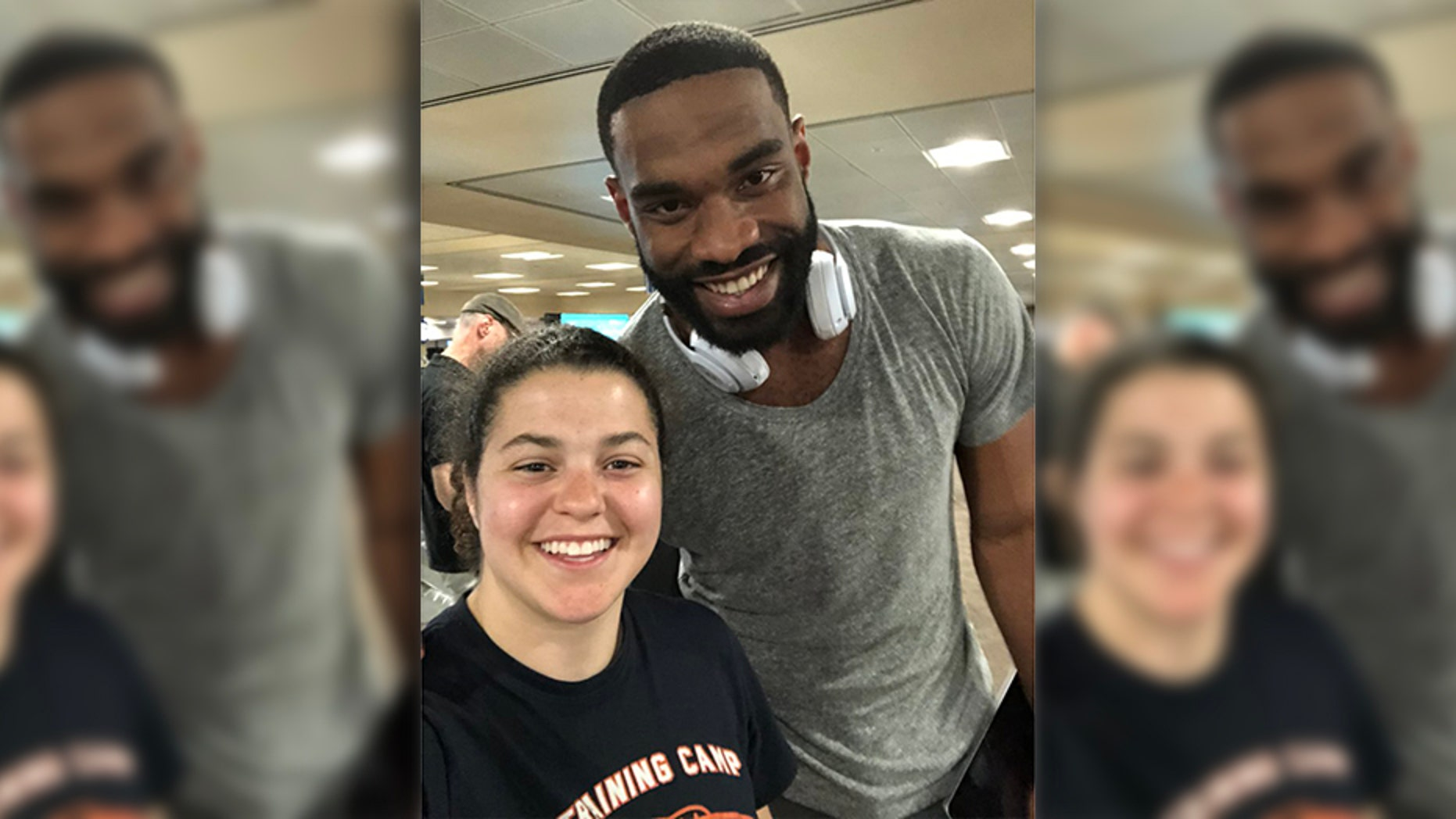 Delilah Cassidy almost missed her flight. Then Jermaine Gresham offered to pay her bag fee.