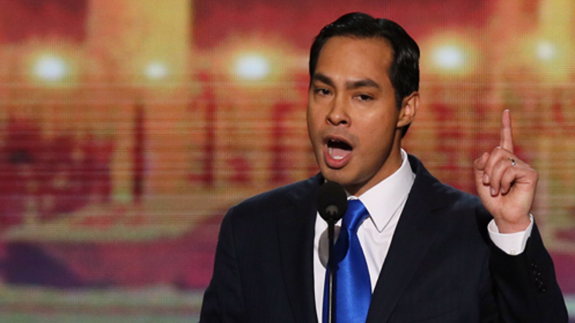 CHARLOTTE, NC - SEPTEMBER 04:  San Antonio Mayor Julian Castro gives the keynote address on stage during day one of the Democratic National Convention at Time Warner Cable Arena on September 4, 2012 in Charlotte, North Carolina. The DNC that will run through September 7, will nominate U.S. President Barack Obama as the Democratic presidential candidate.  (Photo by Alex Wong/Getty Images)