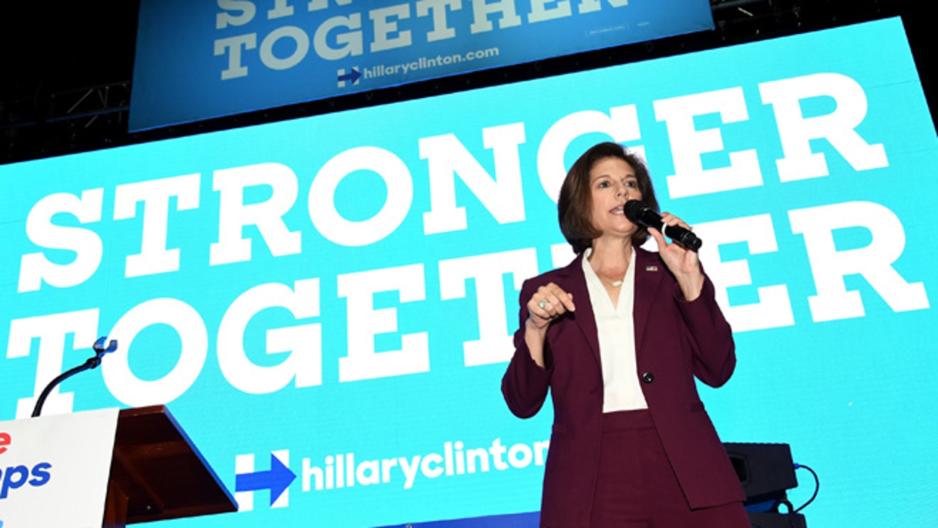 """LAS VEGAS, NV - NOVEMBER 03:  Former Nevada Attorney General and Democratic U.S. Senate candidate Catherine Cortez Masto speaks before a get-out-the-vote performance by DJ/producer Steve Aoki for Democratic presidential nominee Hillary Clinton as part of Hillary for America's """"Love Trumps Hate"""" concert series at the Cox Pavilion on November 3, 2016 in Las Vegas, Nevada. Cortez Masto, along with former U.S. President Bill Clinton and Aoki, urged people to vote for Hillary Clinton and Nevada Democratic candidates during early voting, which ends on November 4 in the battleground state, and on Election Day.  (Photo by Ethan Miller/Getty Images)"""