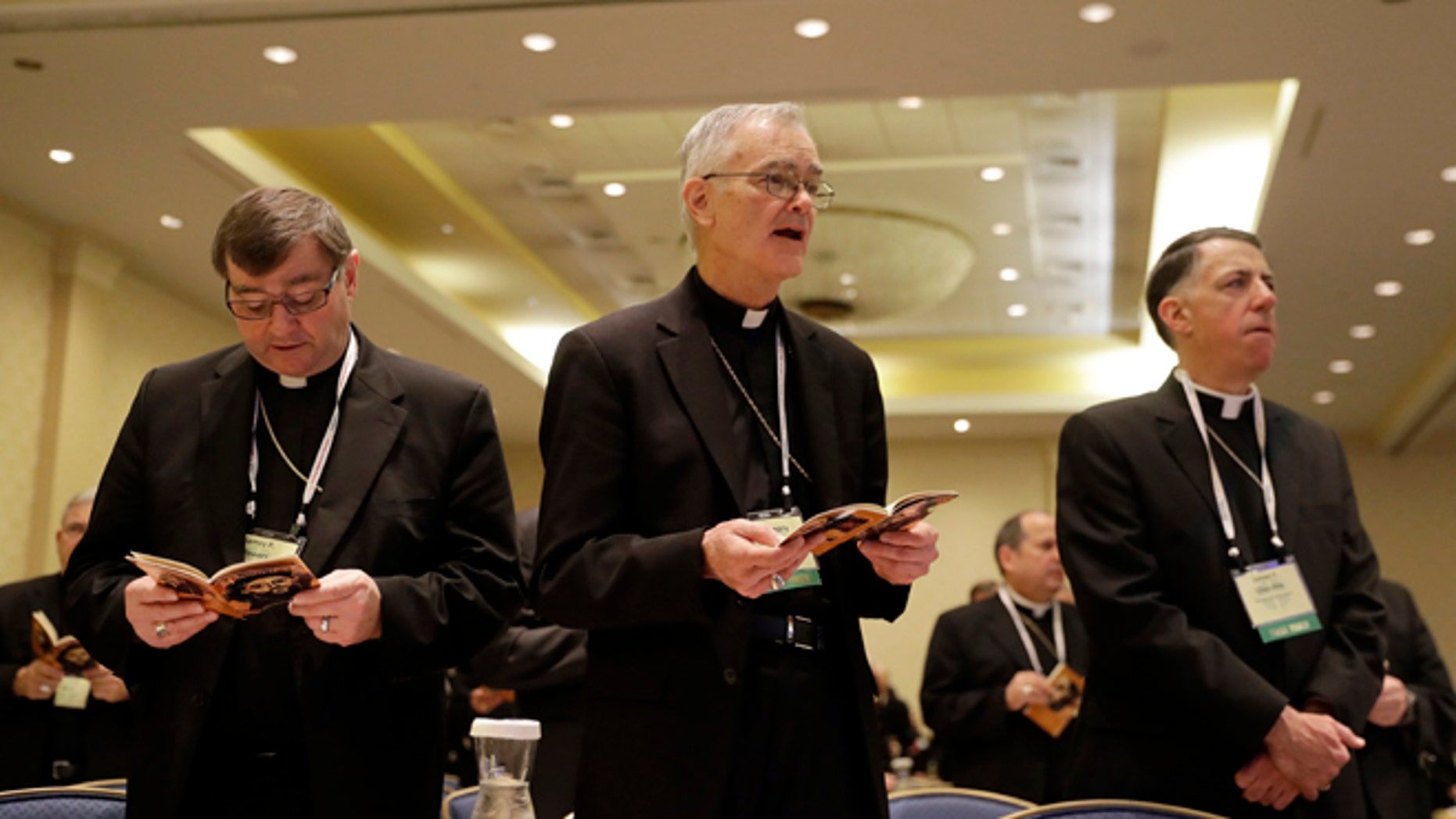 Bishop James Powers of the Diocese of Superior, Bishop J. Gregory Kelly, Apostolic Administrator of Dallas, and Bishop James Checchio of the Diocese of Metuchen.