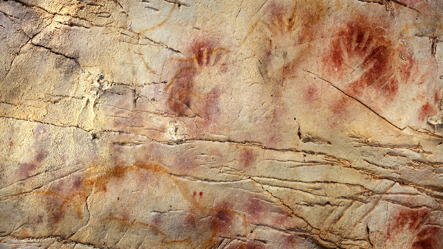 This undated photo shows detail of the Panel of Hands, El Castillo Cave showing red disks and hand stencils made by blowing or spitting paint onto the wall.