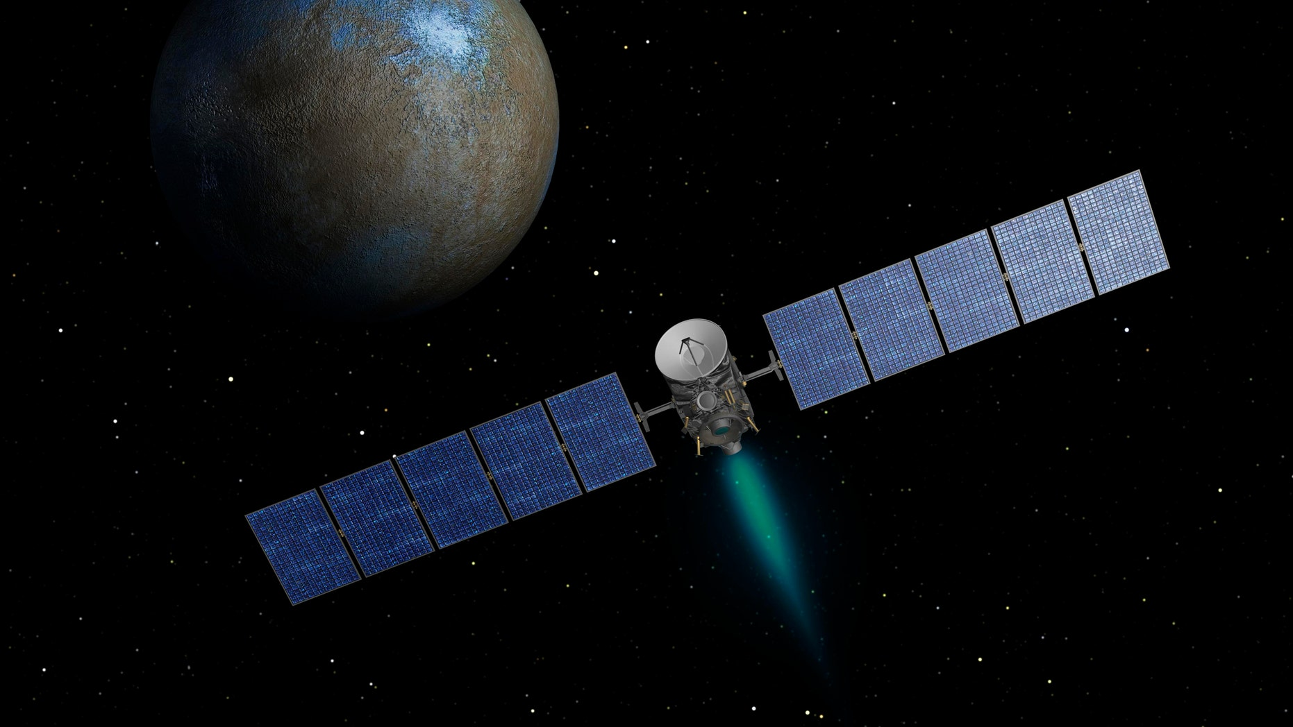 NASA's Dawn spacecraft heads toward Ceres as seen in this artist's conception.