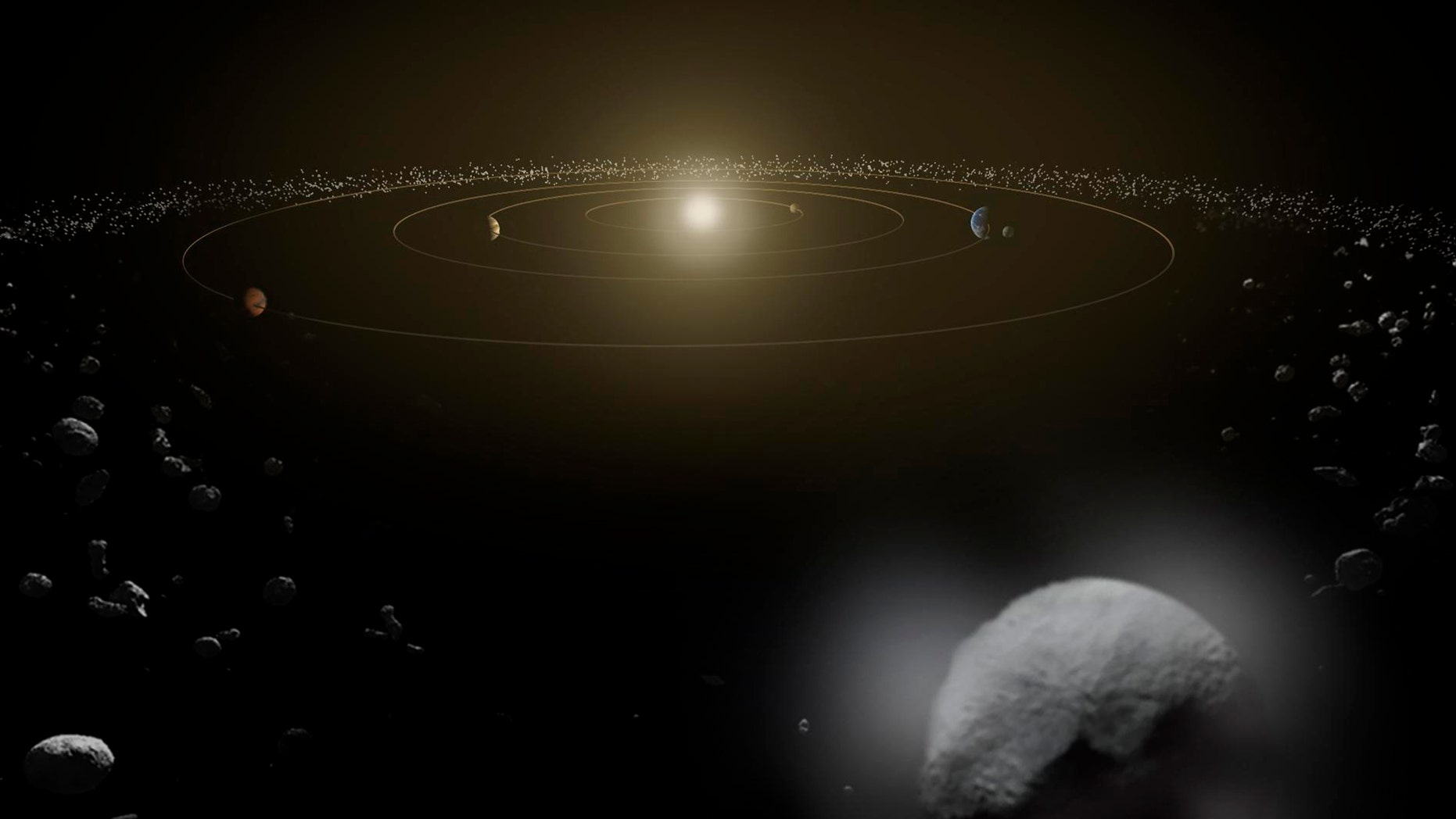 Dwarf planet Ceres is seen in the main asteroid belt, between the orbits of Mars and Jupiter, as illustrated in this undated artist's conception released by NASA.