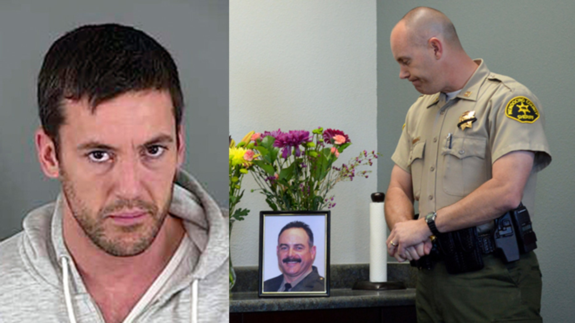 Left: Ricardo Antonio Chaney (AP Photo/Lane County Sheriff's Department). Right: Mendocino Sheriff's Captain Greg Van Patten looks at a photograph of slain Deputy Ricky Del Fiorentino during a March 19, 2014 news conference outside Fort Bragg, Calif. (AP Photo/The Press Democrat, Alvin Jornada)
