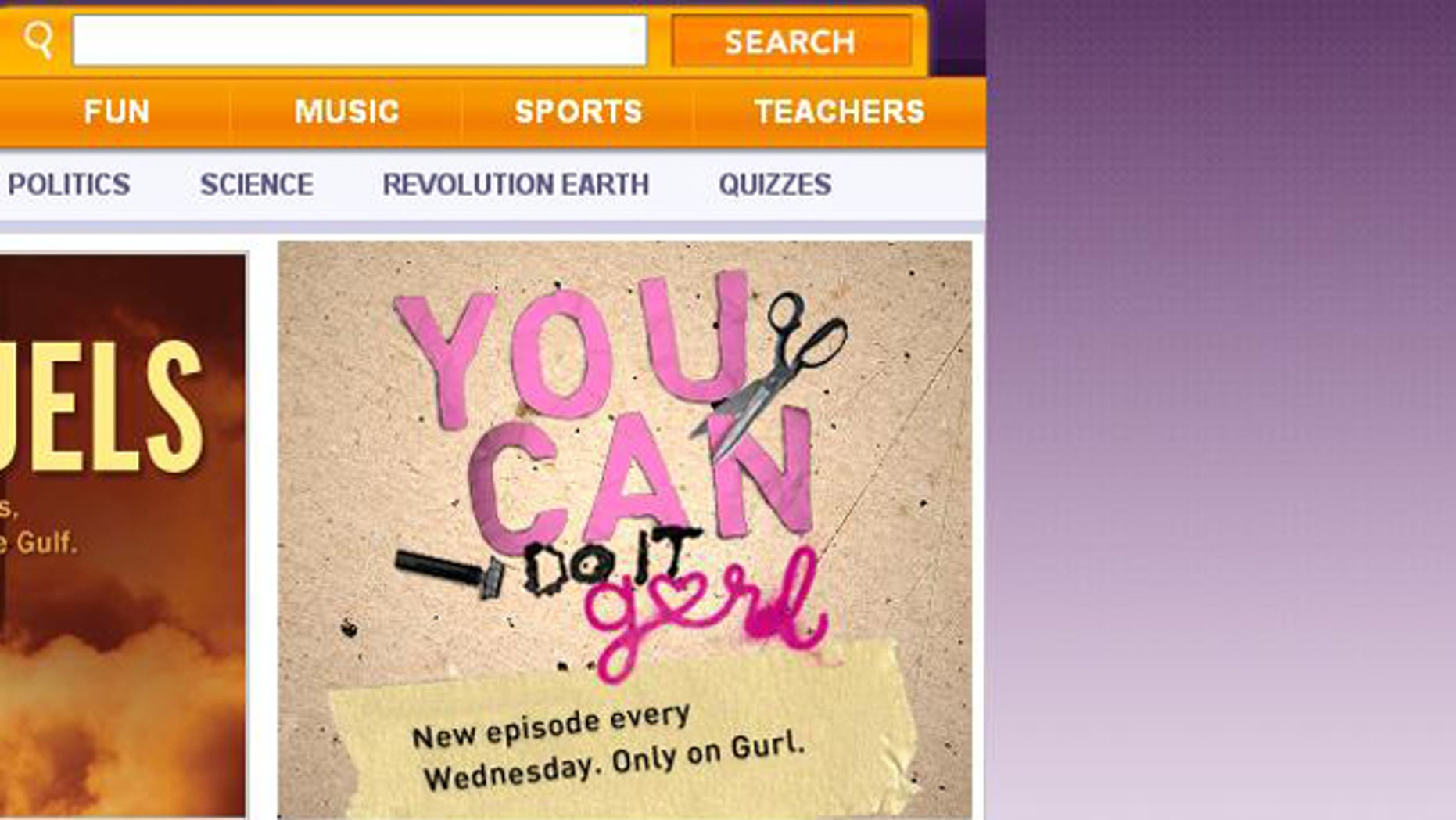 "A screengrab taken from the Channel One News website shows a promotion for gURL.com, a site targeting teen girls that features such stories as ""Reader Hookup Confession: My BF's Mom Caught Me Giving Him Oral Sex!"""