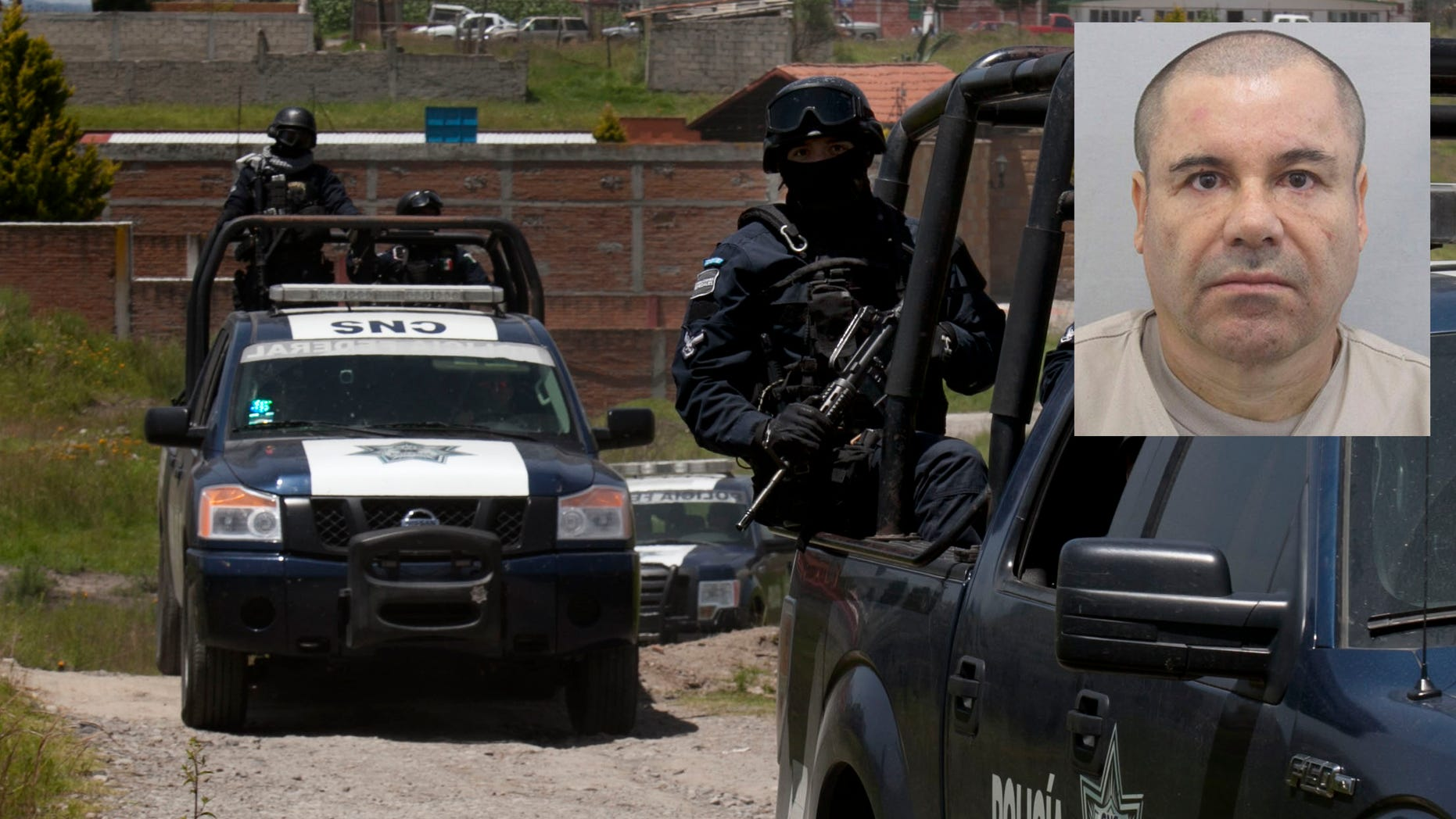 Federal Police stand guard near a half-built house near the Altiplano maximum security prison in Almoloya, July 13, 2015.