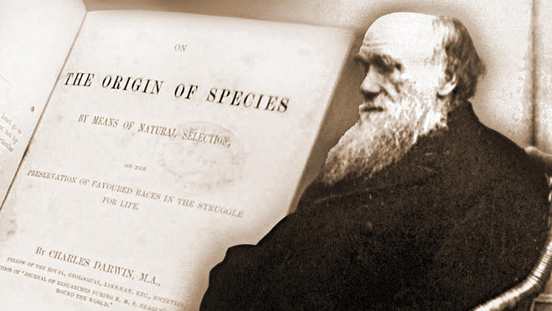 """An 1875 photo of Charles Darwin along with his seminal book, """"On the Origin of Species."""""""
