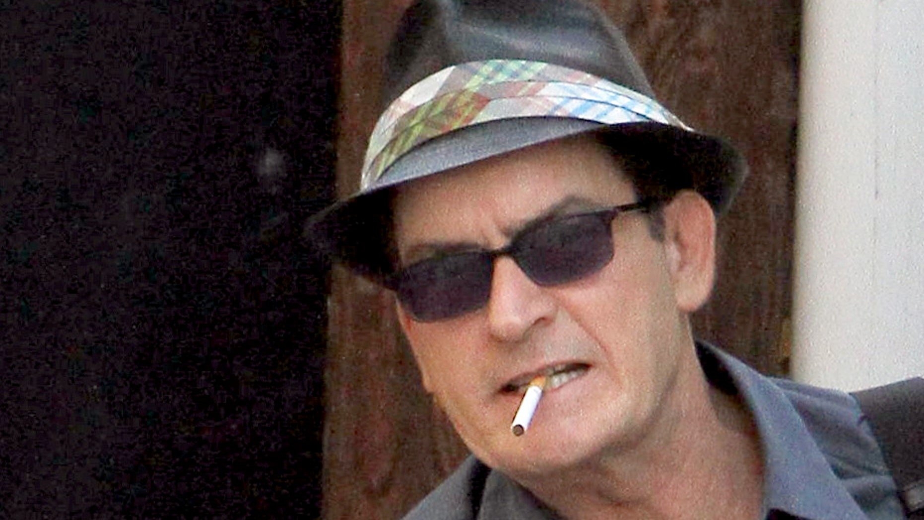 """Charlie Sheen filming a cameo for the independent comedy, """"She Wants Me"""". The film co-stars Hilary Duff.. October 28, 2010. X17online.com"""