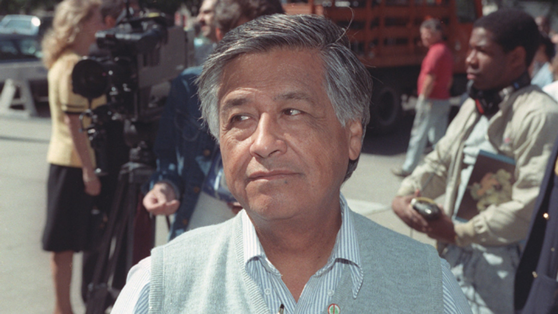 FILE - Cesar Chavez, civil rights advocate and United Farm Workers founder, is shown in this June 29, 1989 file photo. On Thursday April 23, 2015, the 22nd anniversary of his death, Chavez will get full graveside honors from the U.S. Navy at his memorial in California. (AP Photo/Richard Drew, File)