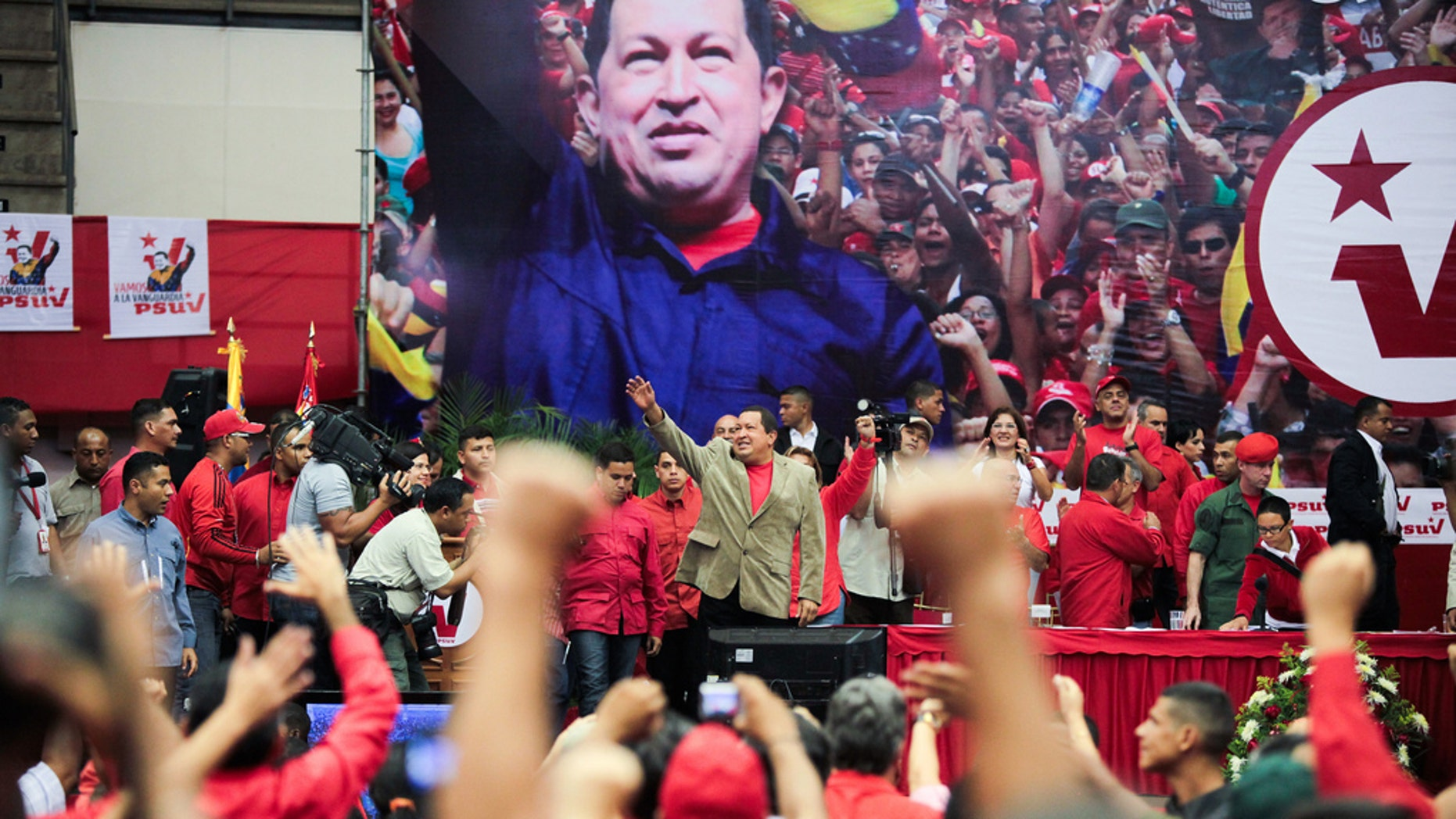 Hugo Chávez speaks to supporters on Feb. 17, his last public appearance.