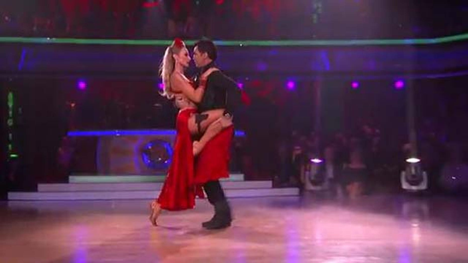 Oct. 10, 2011: Chayna Phillips and dance partner Tony Dovolani dance the Tango on DWTS Monday night.