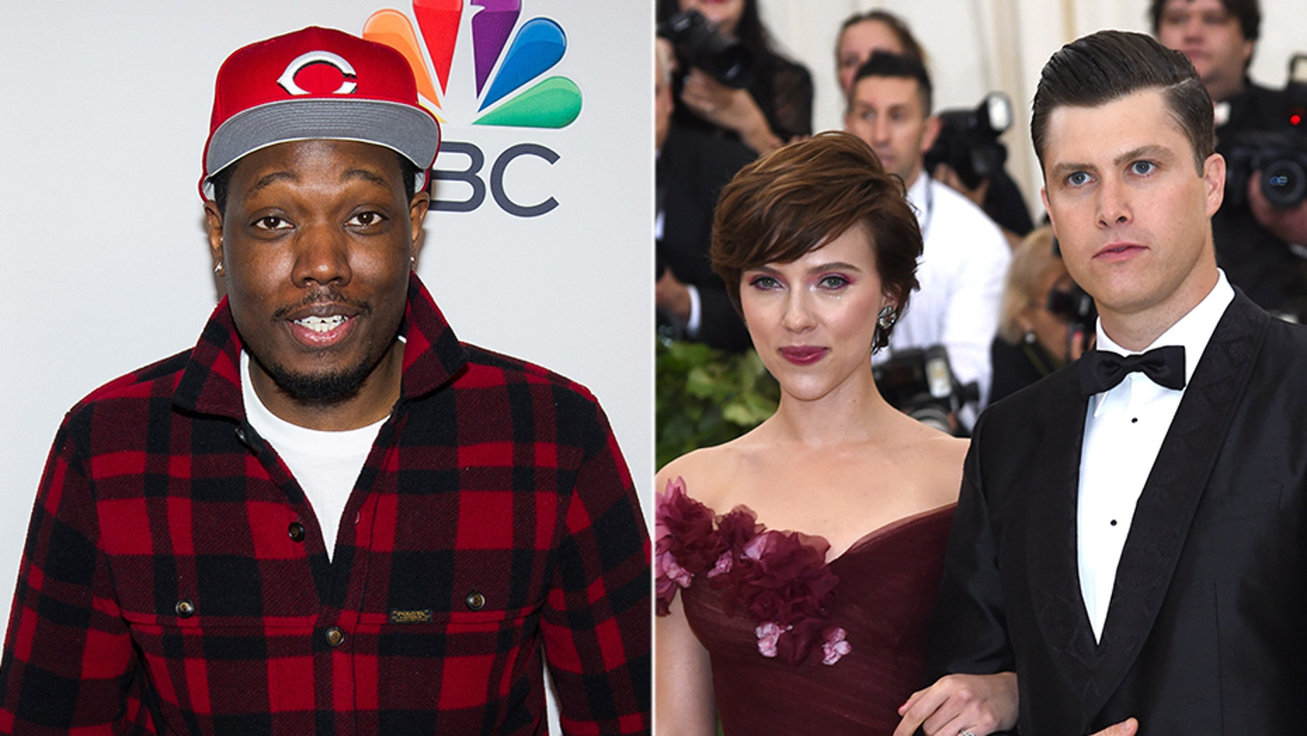 """Saturday Night Live"" star Michael Che (left) surprised castmate Colin Jost (seen right with his girlfriend Scarlett Johansson) with a special gift for his birthday."