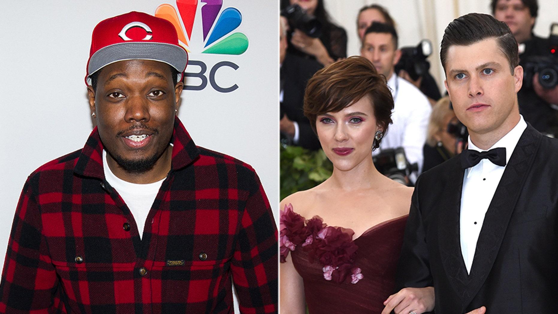Snl Star Michael Che Surprises Scarlett Johansson Colin Jost With Clown At Intimate Birthday Dinner Fox News