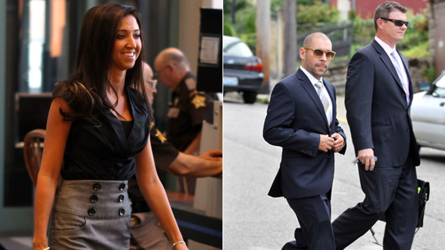 These photos show, Sarah Jones (left), a former Dixie Heights High School teacher and Cincinnati Ben-Gal cheerleader; and Nik Richie,  owner of the gossip website TheDirty.com, leaving the Federal Courthouse in Covington, Ky., with his lawyer, David Gingra. Jones, who was convicted of having sex with her 17-year-old student three months ago, is suing a controversial Scottsdale, Ariz.-based gossip website and its owner over lewd comments made about her online long before any accusations involving the teenager surfaced. (AP Photos)
