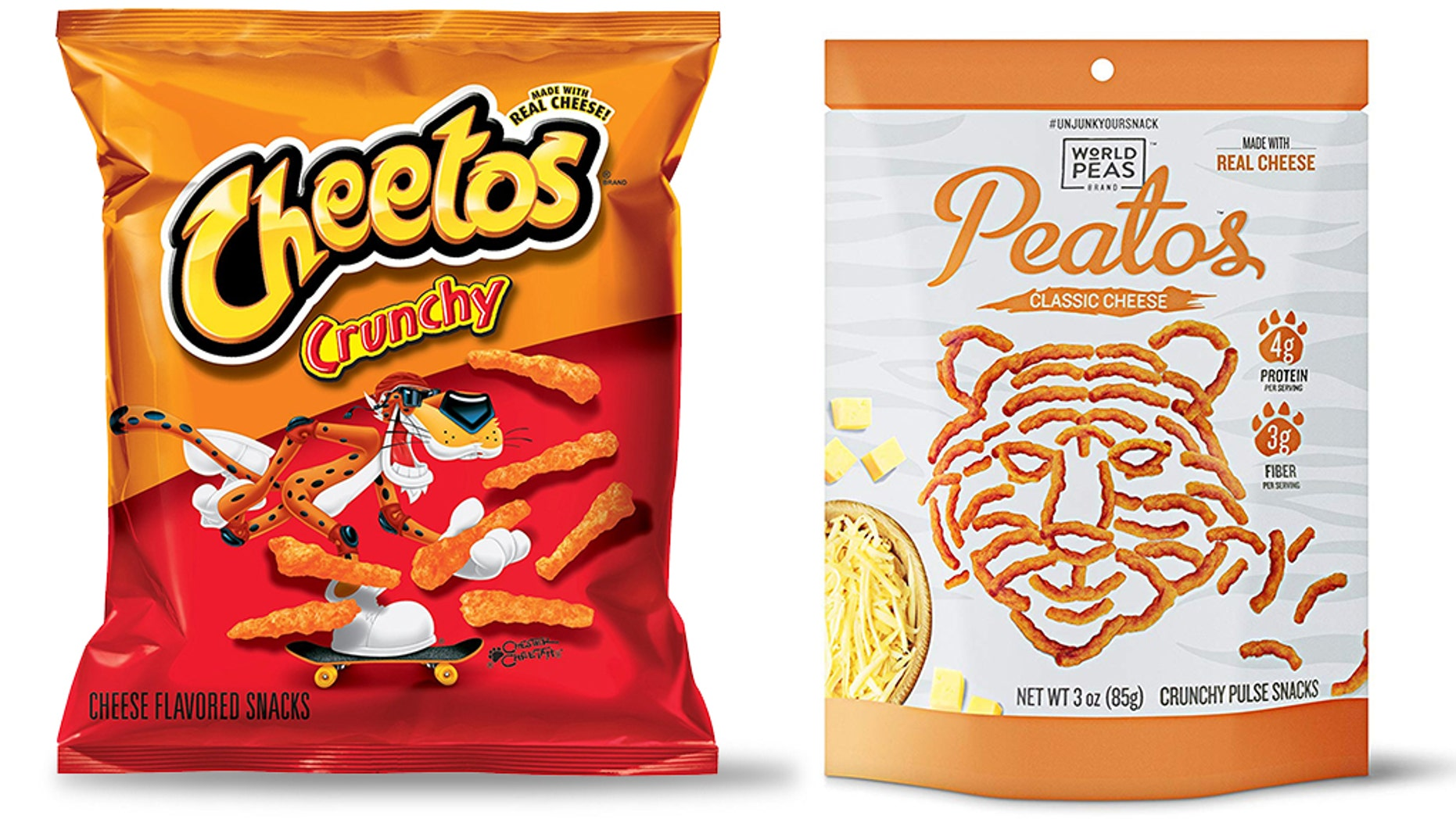 Cheetos has gone after Peatos for baring a very similar likeness to the iconic snack.