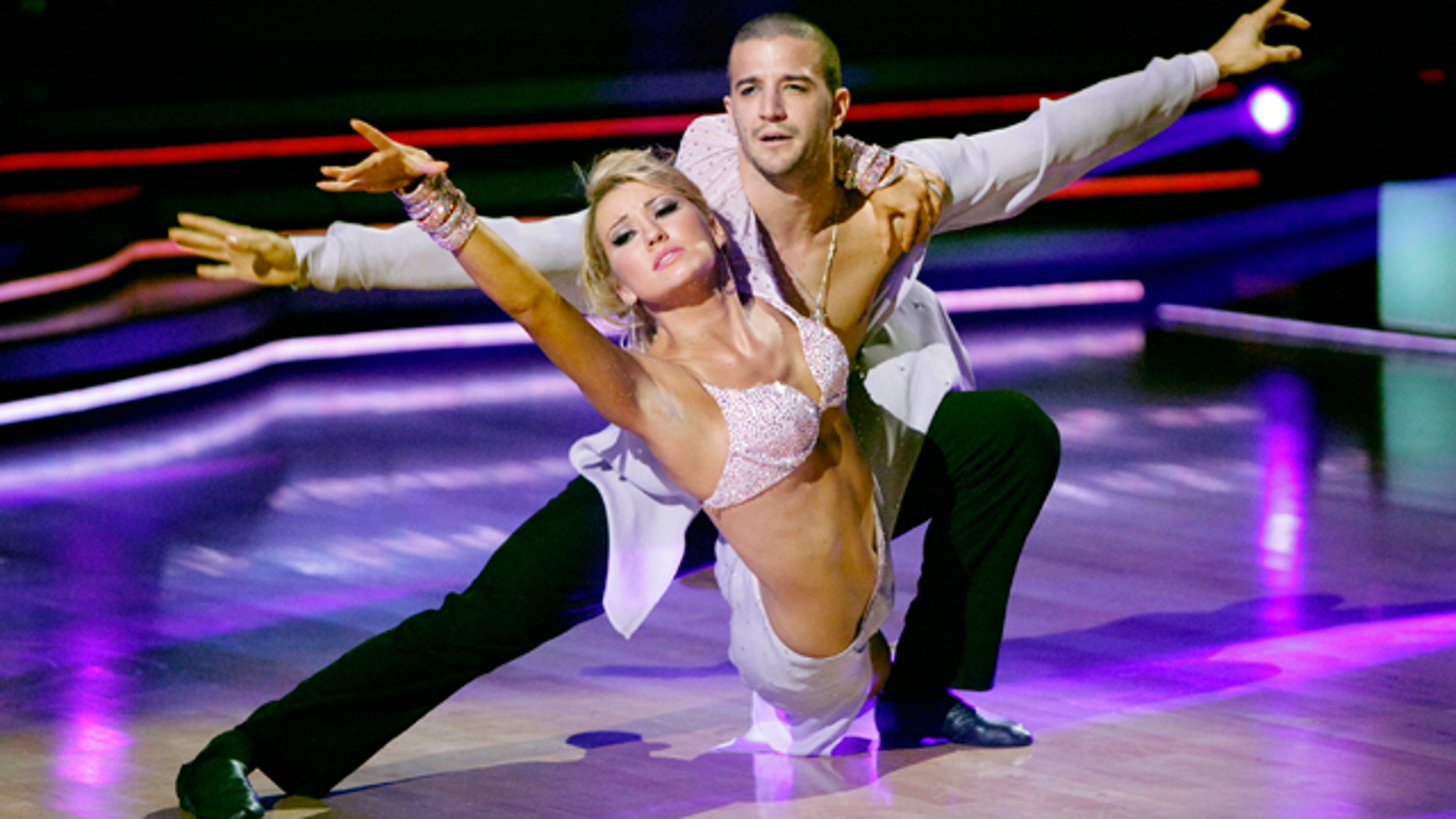 """May 16: In this publicity image released by ABC, Chelsea Kane, right, and her partner Mark Ballas compete during the celebrity dance competition """"Dancing with the Stars"""" in Los Angeles."""
