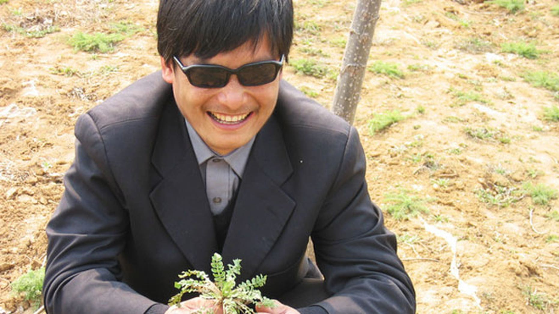 This undated photo provided by the China Aid Association shows blind Chinese legal activist Chen Guangchen in Shandong province, China. Chen, a well-known dissident who angered authorities in rural China by exposing forced abortions, made a surprise escape from house arrest on April 22, 2012, into what activists say is the protection of U.S. diplomats in Beijing, posing a delicate diplomatic crisis for both governments.